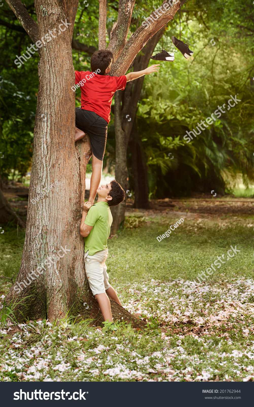 Two Kids Helping Each Other Climb Stock Photo 201762944 ...