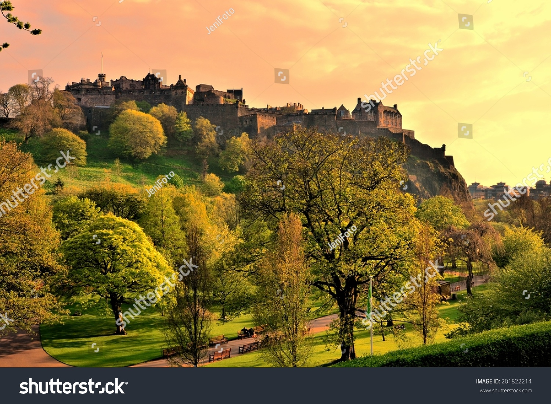 View Edinburgh Castle Princes Street Gardens Stock Photo (Royalty ...