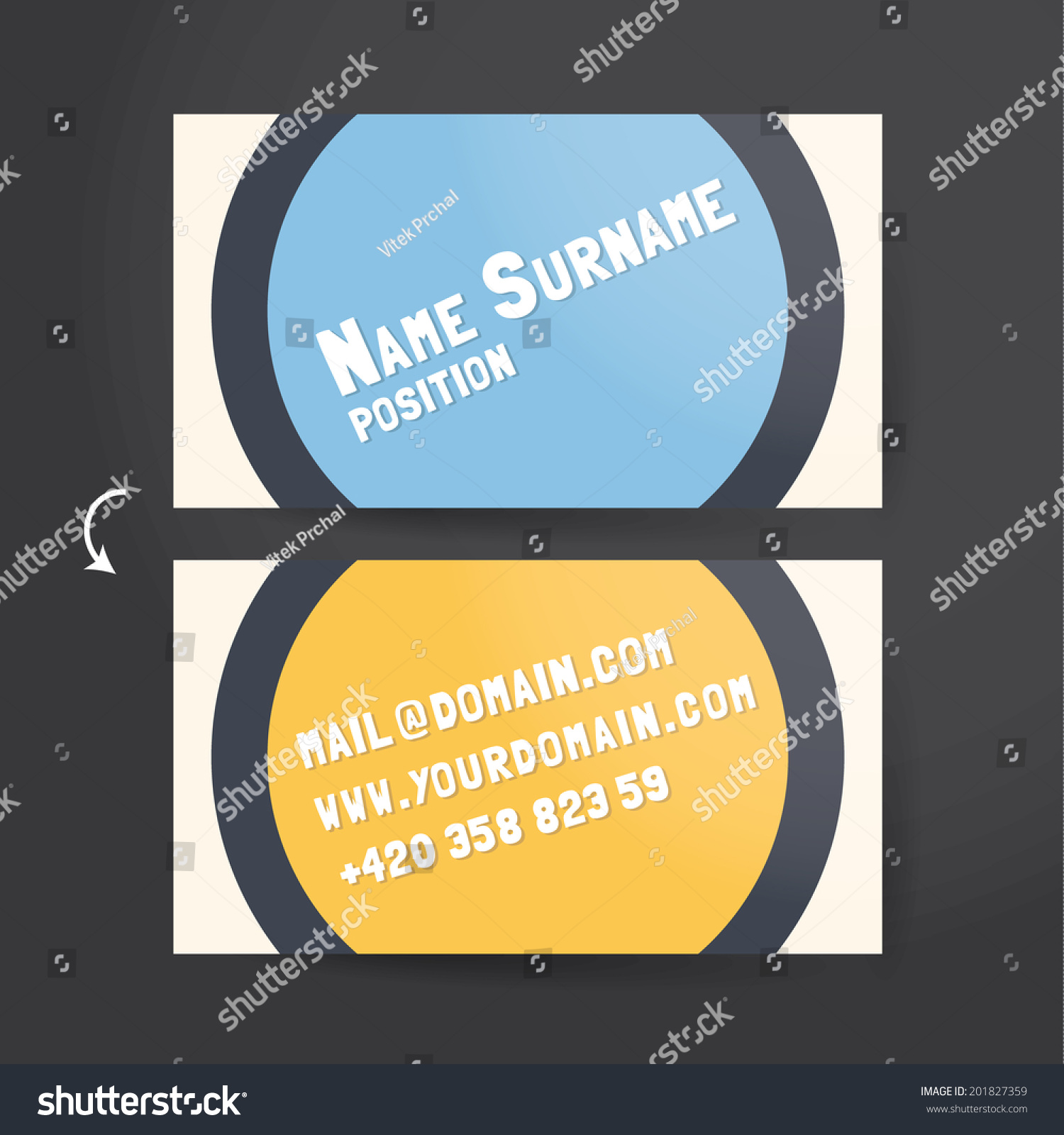 Template Unusual Funky Business Card Vector Stock Vector 201827359 ...
