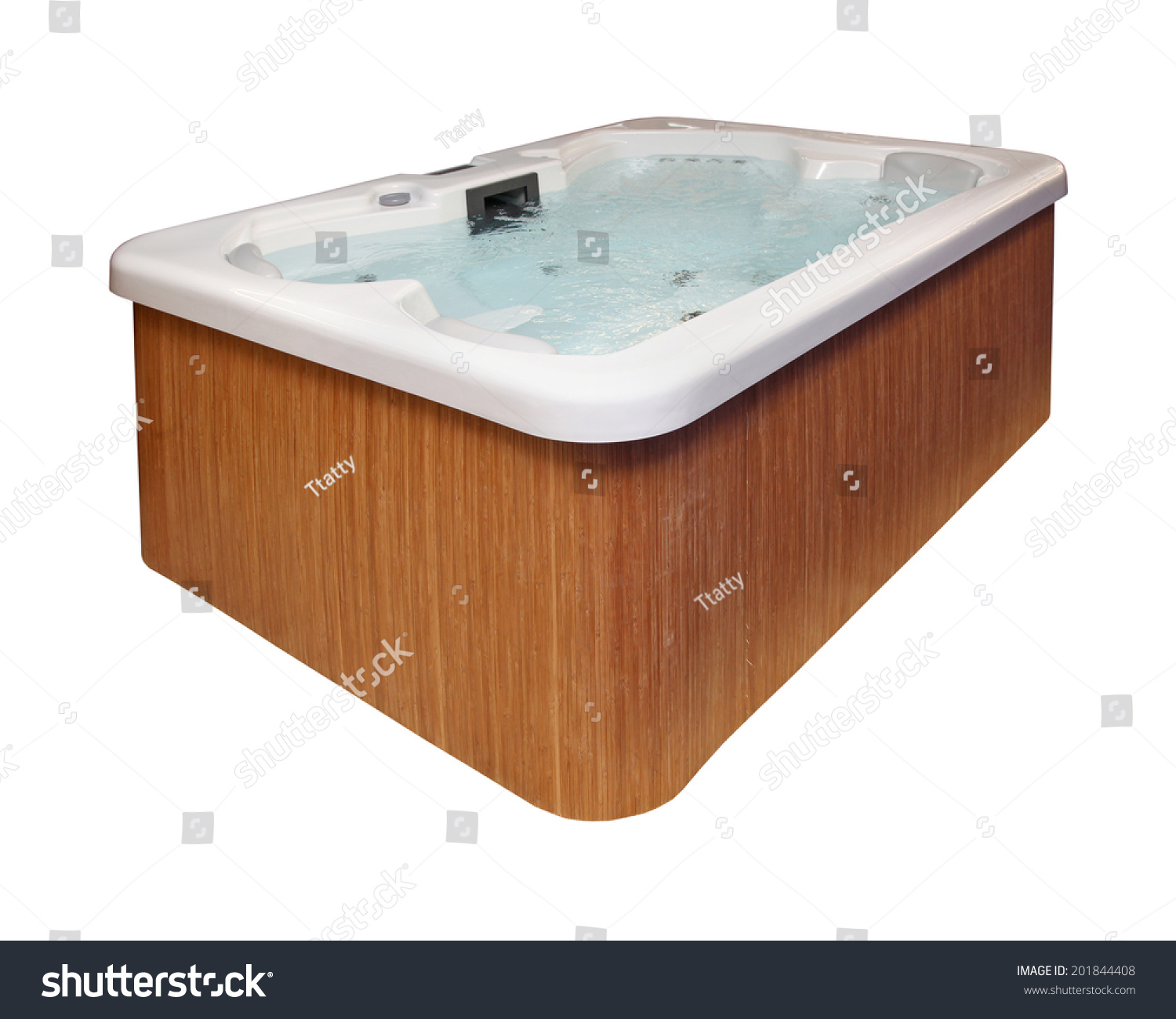 modern hot tub with wooden frame isolated with clipping path included stock photo 201844408. Black Bedroom Furniture Sets. Home Design Ideas
