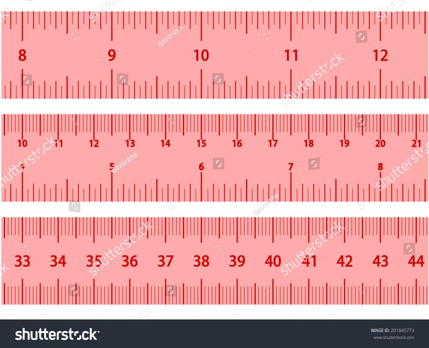Pink Rulers Set Three Different Types Stock Vector 201845773 ...