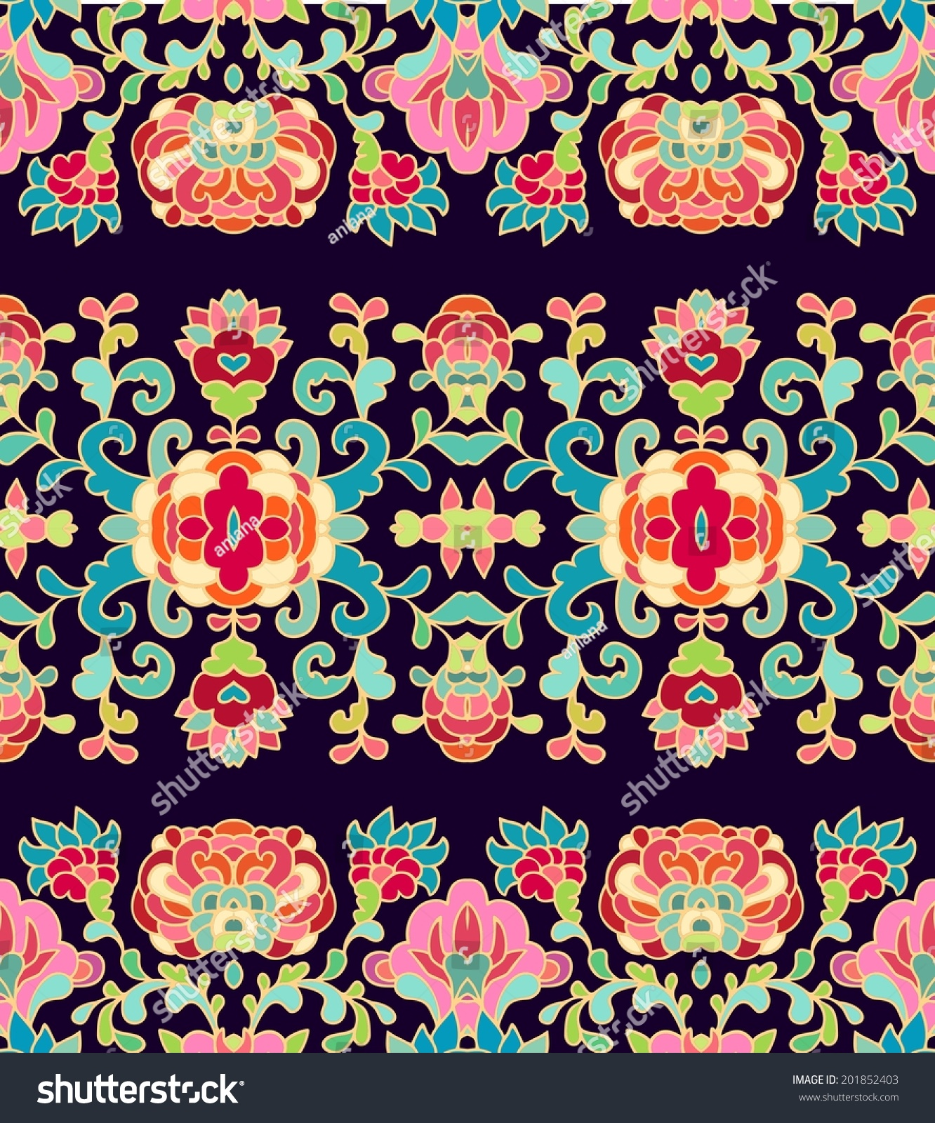 Seamless Floral Ribbon Patterns Chinese Style Stock Vector