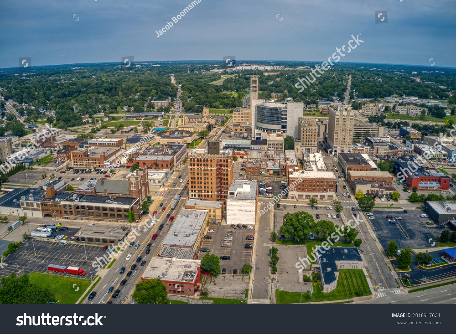 Aerial View of Downtown Pontiac, Michigan during Summer #2018917604