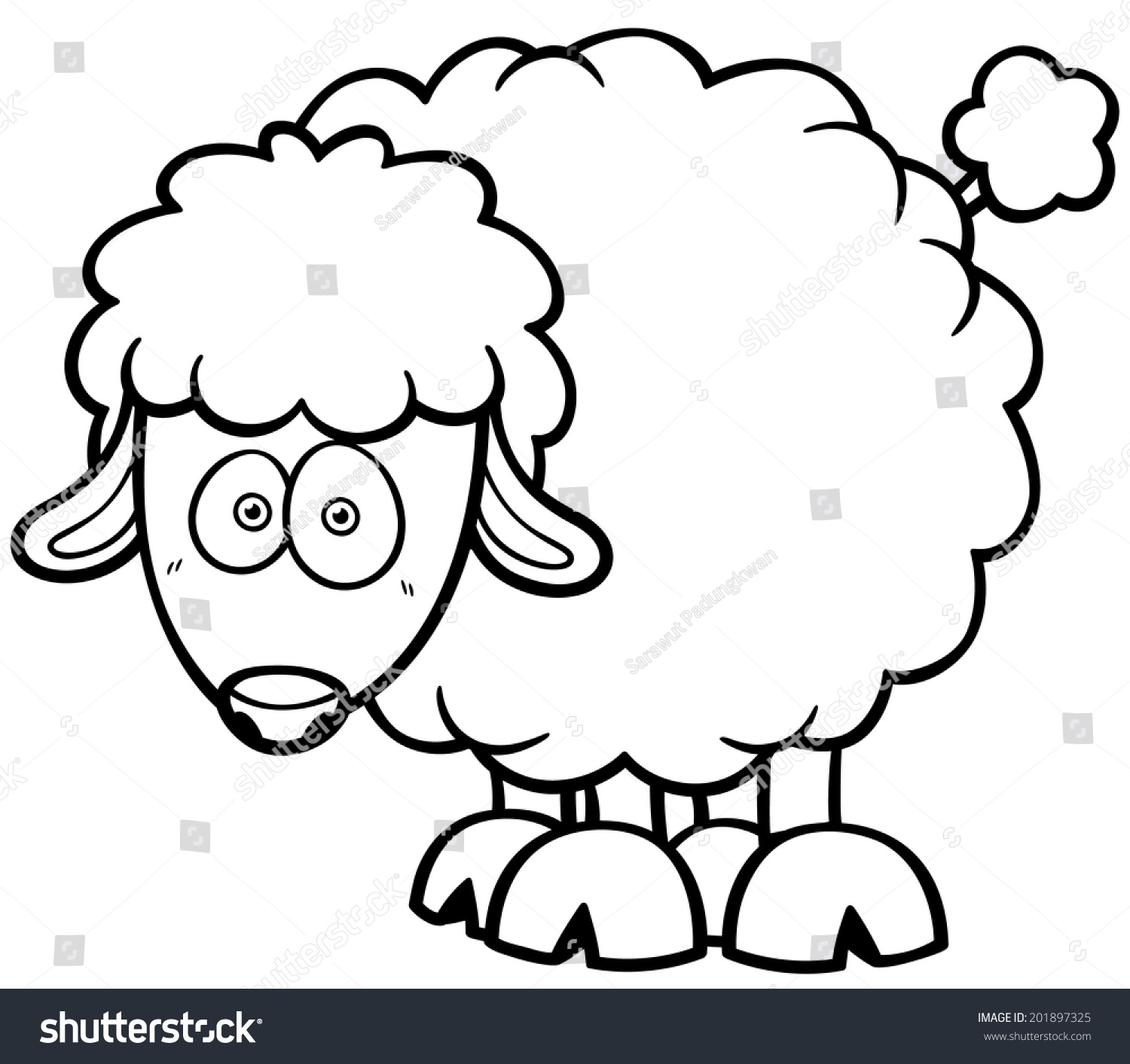 Vector illustration of a cartoon sheep - Coloring book | EZ Canvas