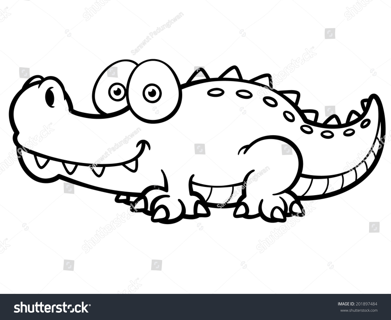 Crocodile cartoon black and white