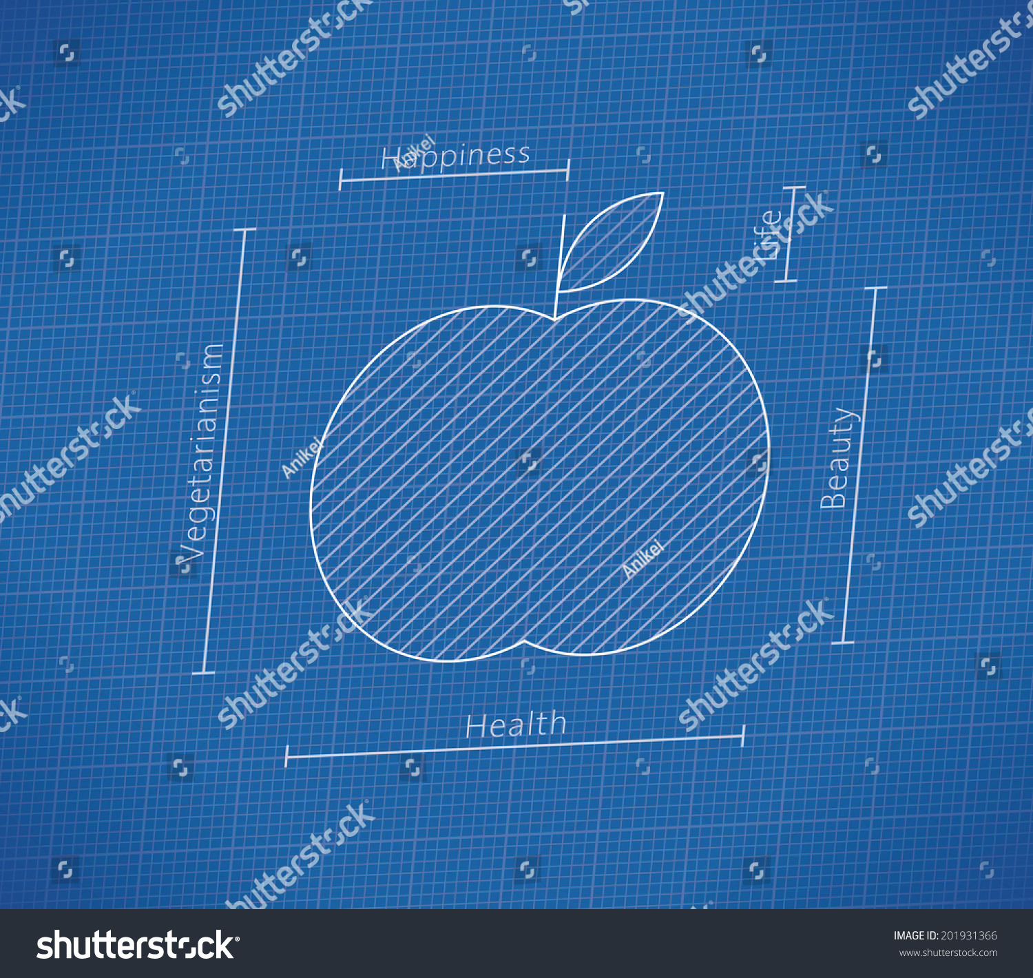 Abstract health blueprint apple idea healthy stock vector abstract health blueprint with apple idea healthy lifestyle vegetarianism fruit and vegetables malvernweather Gallery