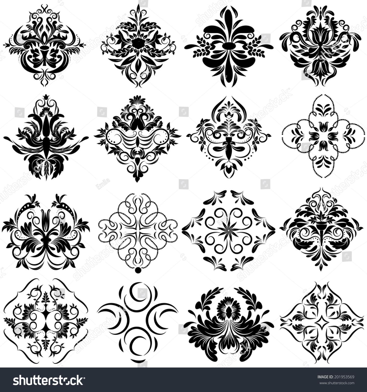 Set Of Black Flower Design Elements Vector Illustration: Damask Set Elegant Floral Abstract Design Stock Vector