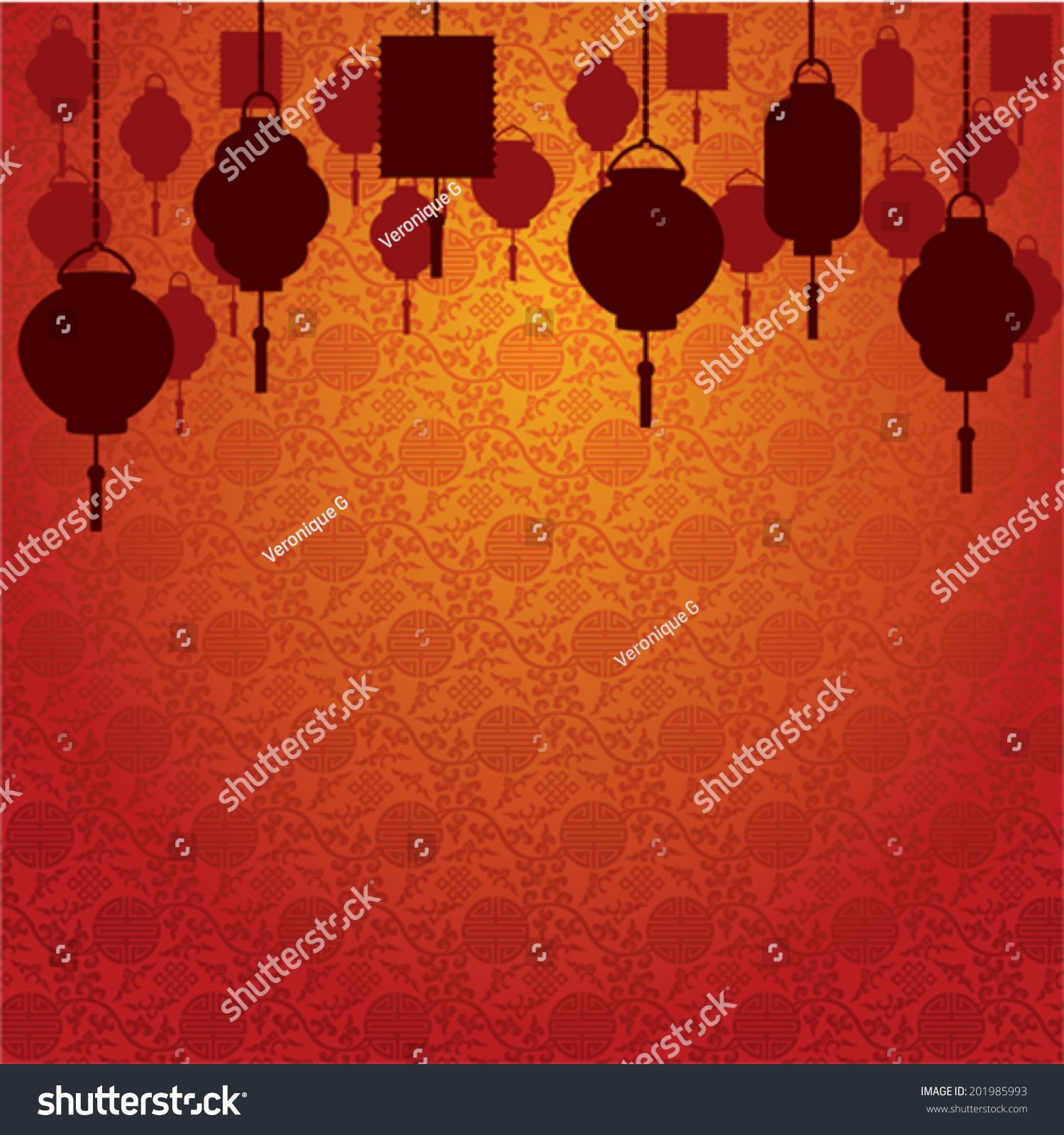 Chinese Lanterns On Traditional Wallpaper Background 201985993