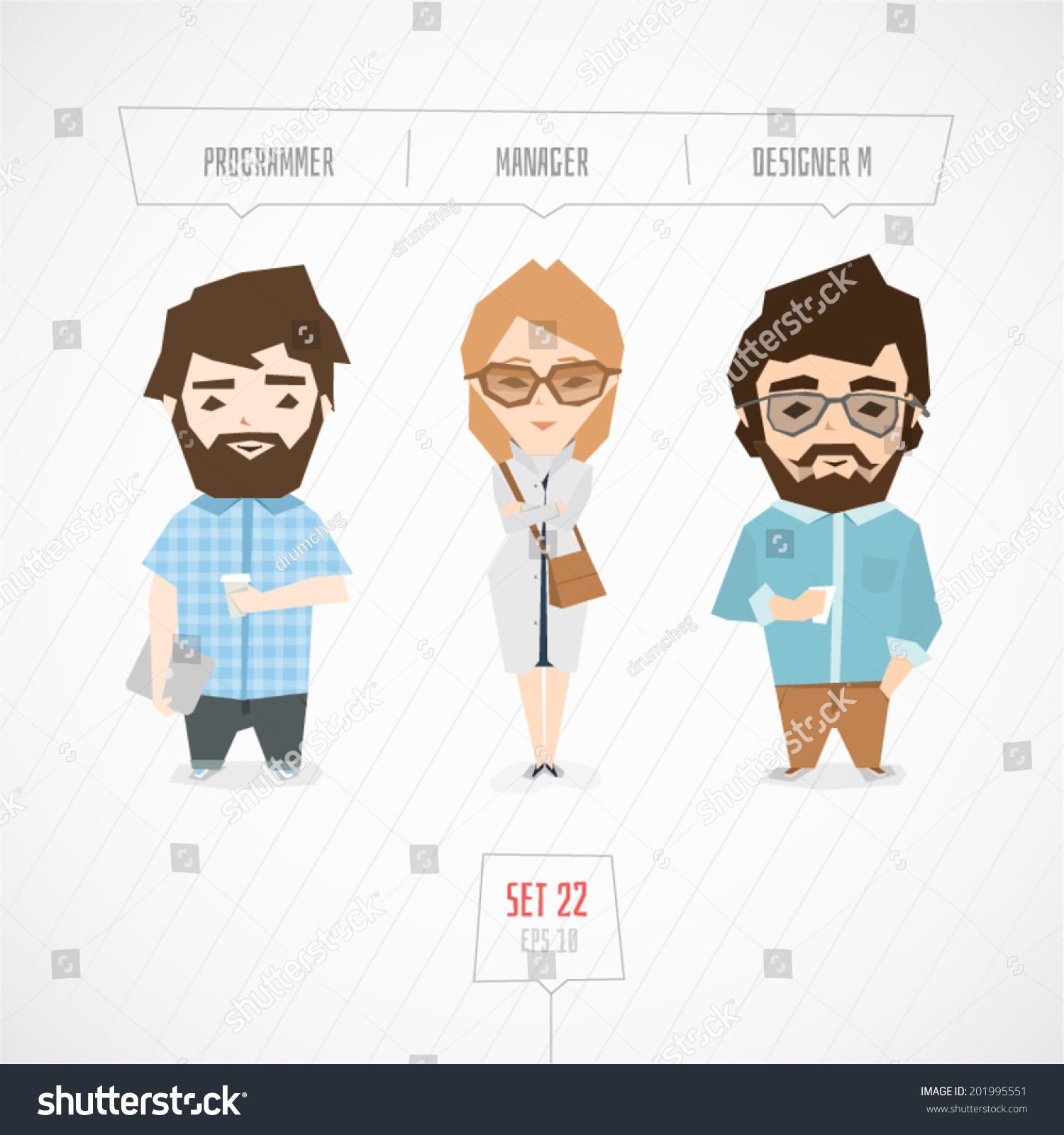 Cartoon Character Design Illustrator : Cartoon characters programmer manager designer vector
