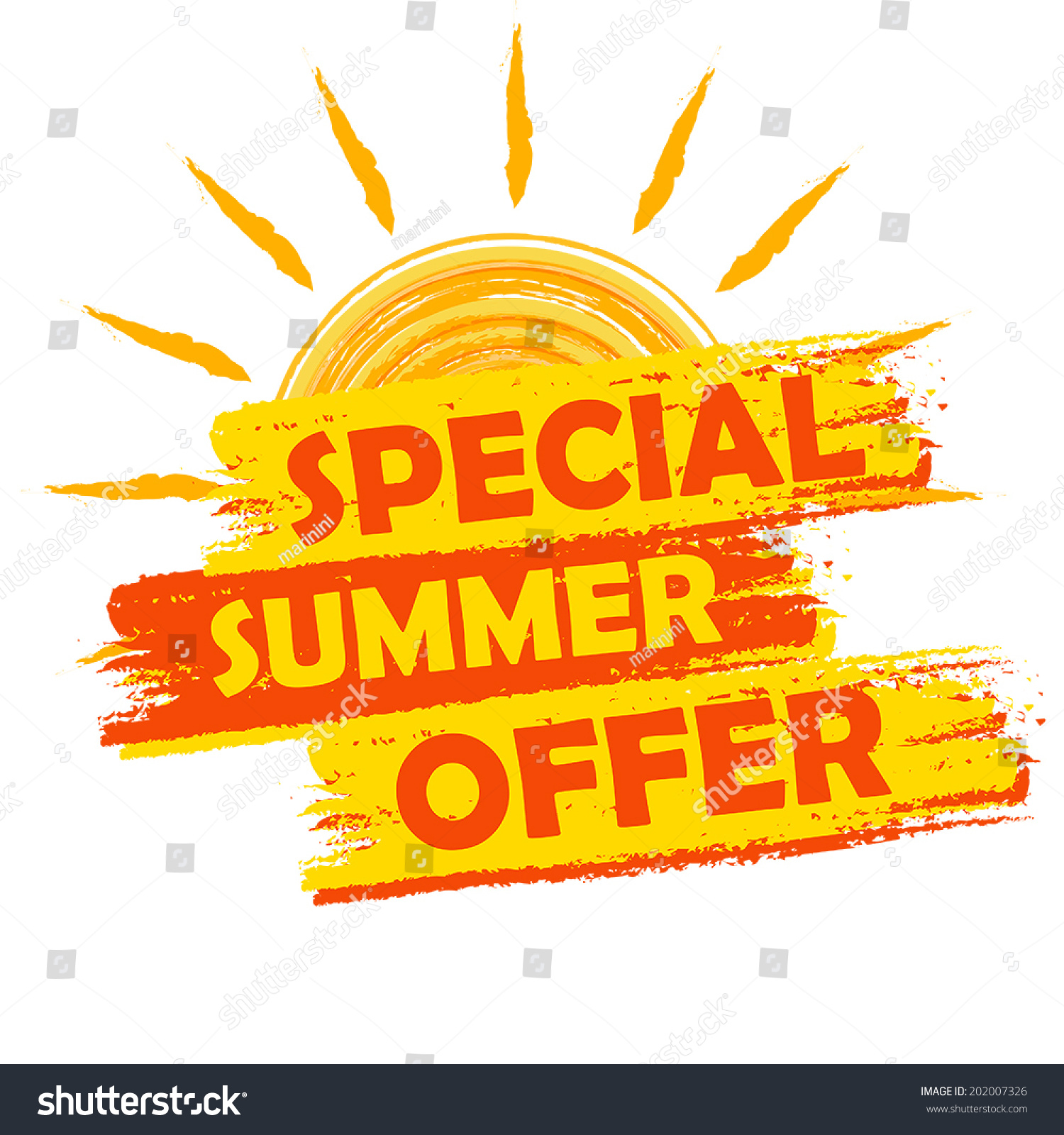 Offer: Special Summer Offer Banner Text Yellow Stock Vector