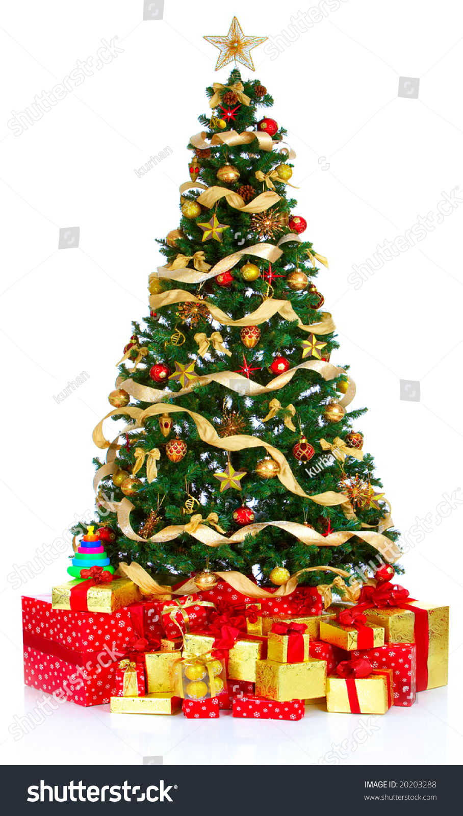 Christmas Tree And Gifts. Over White Background Stock ...