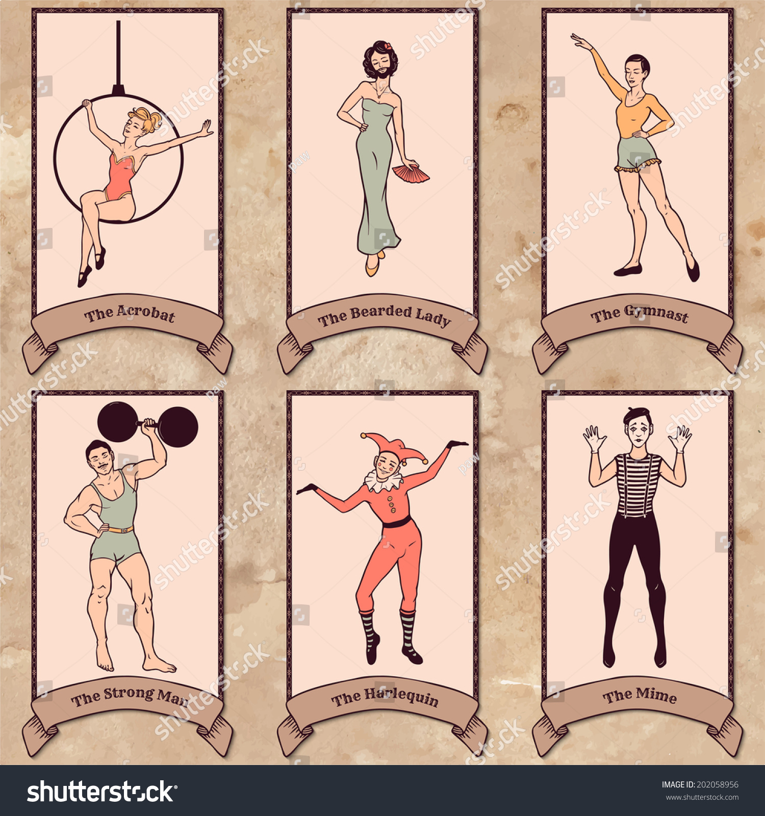 Vintage circus characters set: acrobat, the bearded lady, gymnast, strong  man,