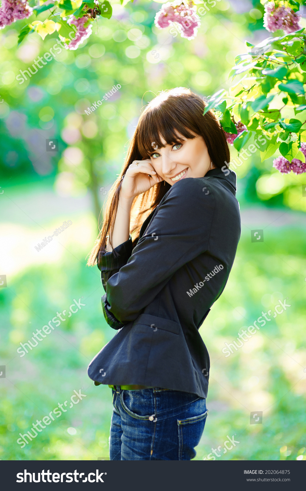 Beauty Sunshine Girl. Happy Woman Smiling Stock Photo ...