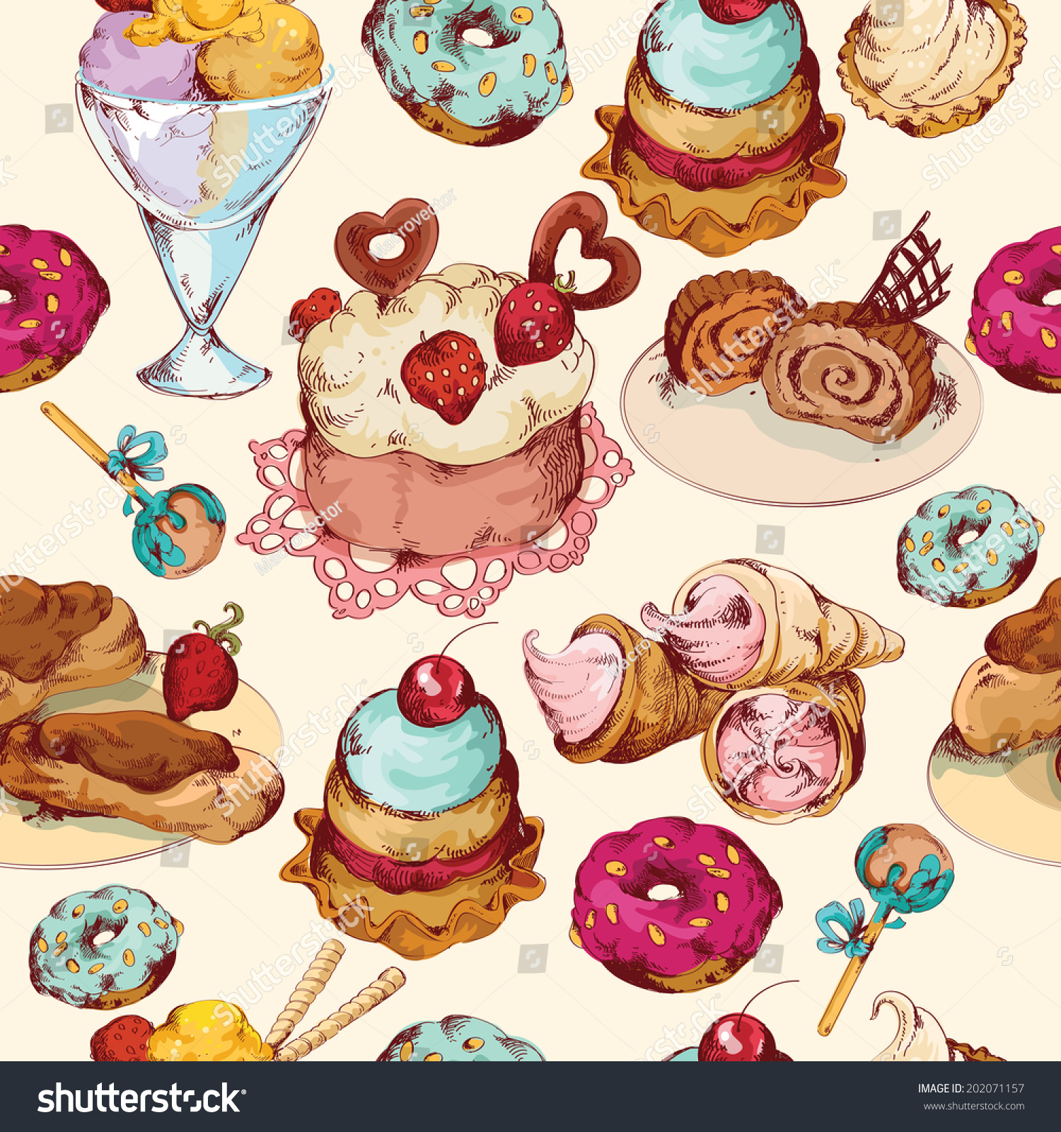 Sweet Ice Cream Flat Colorful Seamless Pattern Vector: Food Sweets Bakery Pastry Ice Cream And Candies Sketch