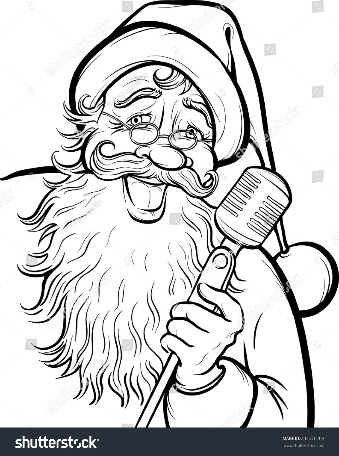Christmas Coloring Page Singing Santa Claus Stock Vector 202076203 ...