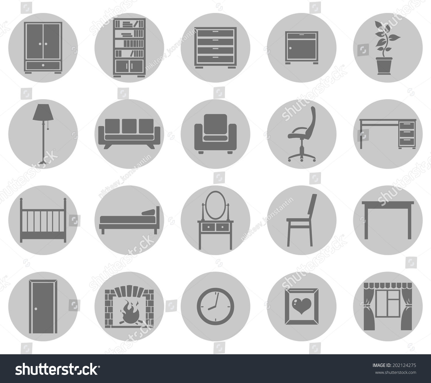 Vector Set Of Gray Circle Furniture Icons
