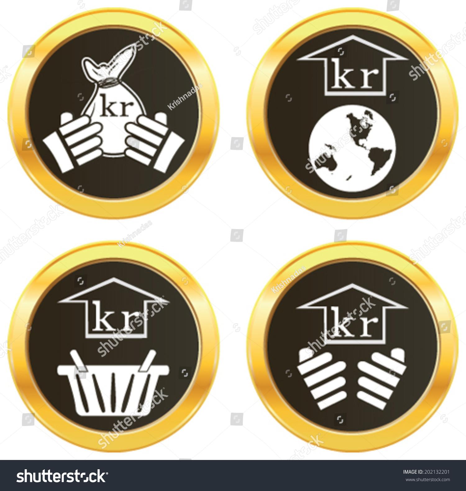 Krona Currency Symbol Representing Money Many Stock Vector Royalty