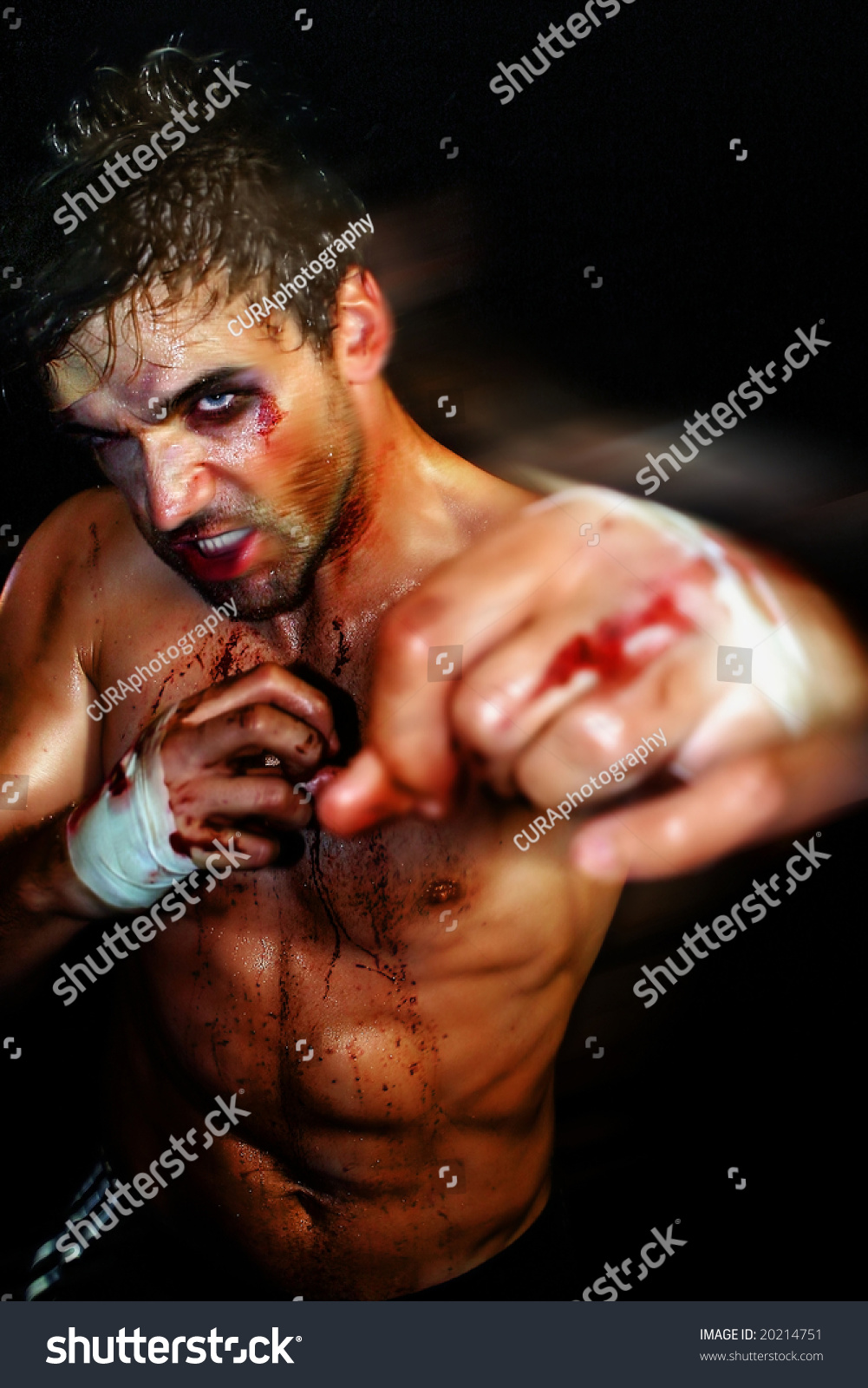 gritty portrait sexy young bloody boxer stock photo