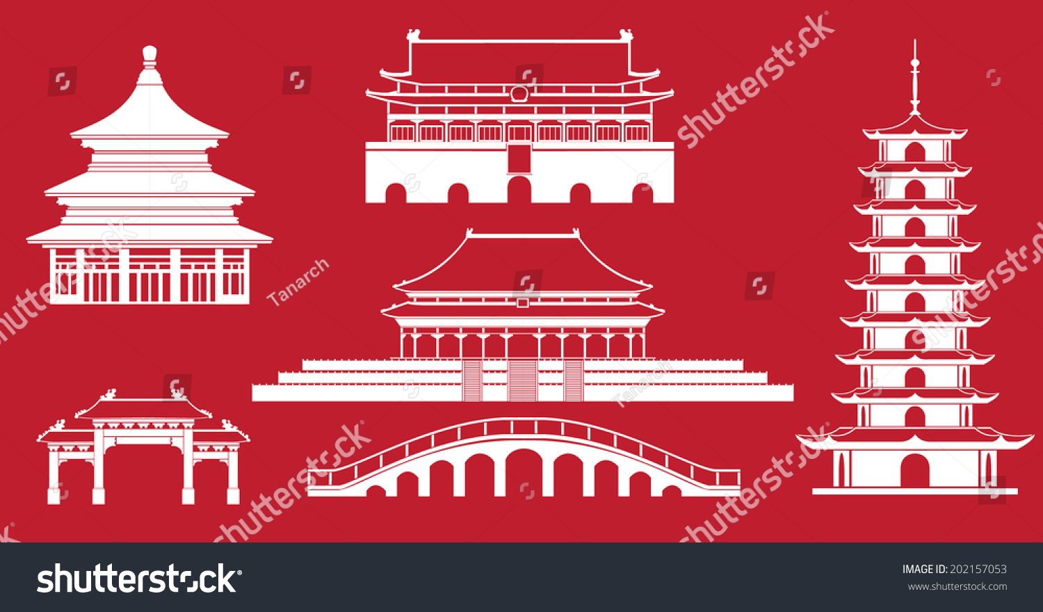 Simplicity Chinese Architecture Graphic Drawings