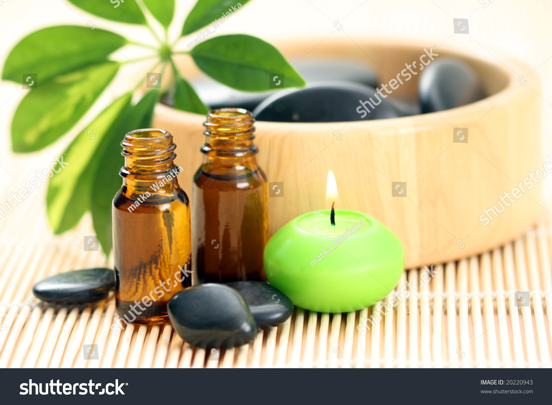 Spa Wellness Massage Accessories Pebbles Essential Stock Photo ...