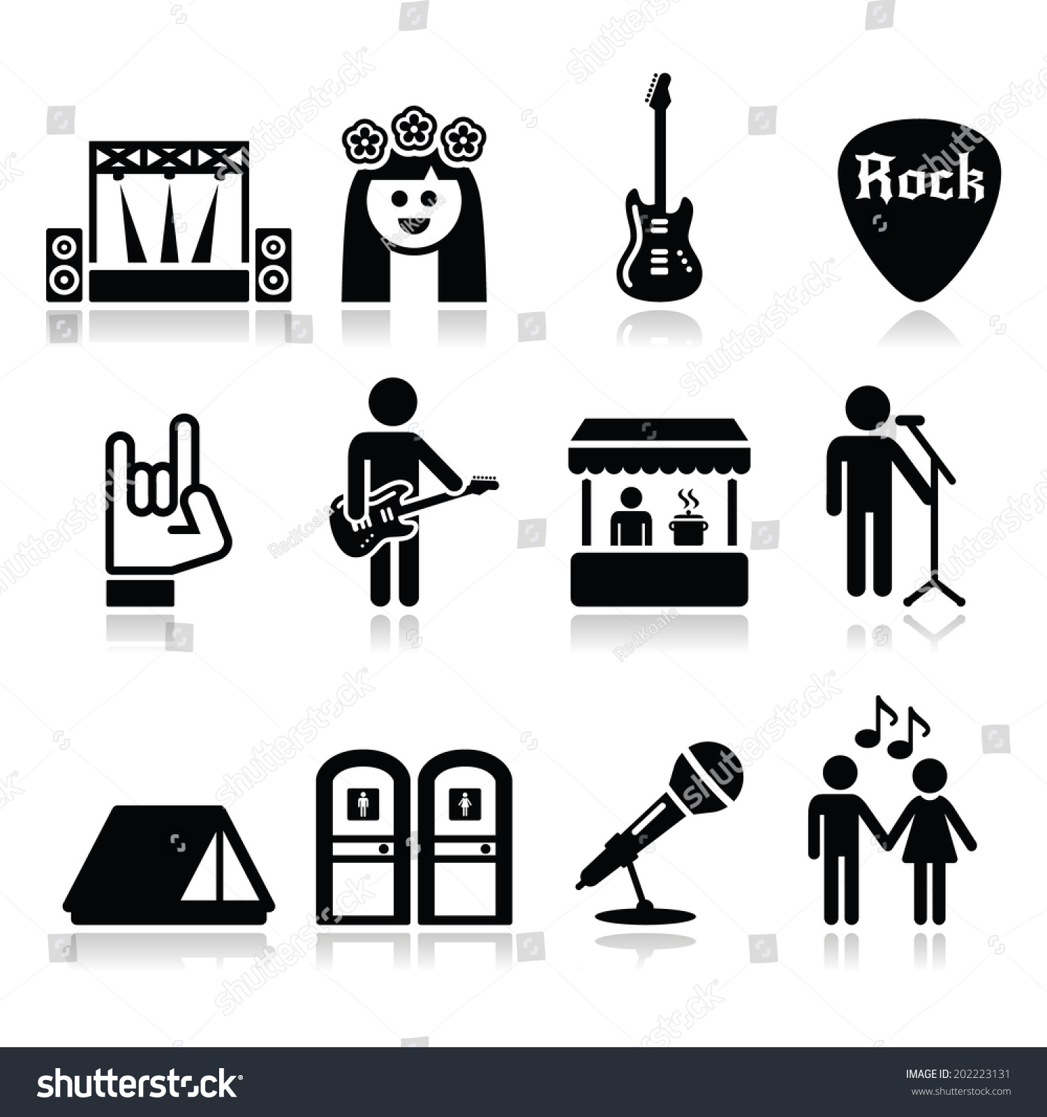 music festival live concert vector icons stock vector