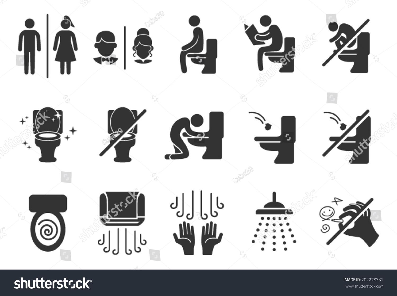 toilet public sign symbol icon pictogram stock vector 202278331