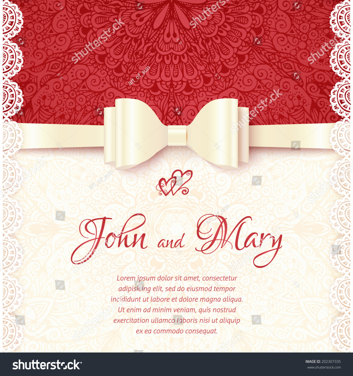 Vintage Vector Wedding Card Template Stock Vector 202307335 ...
