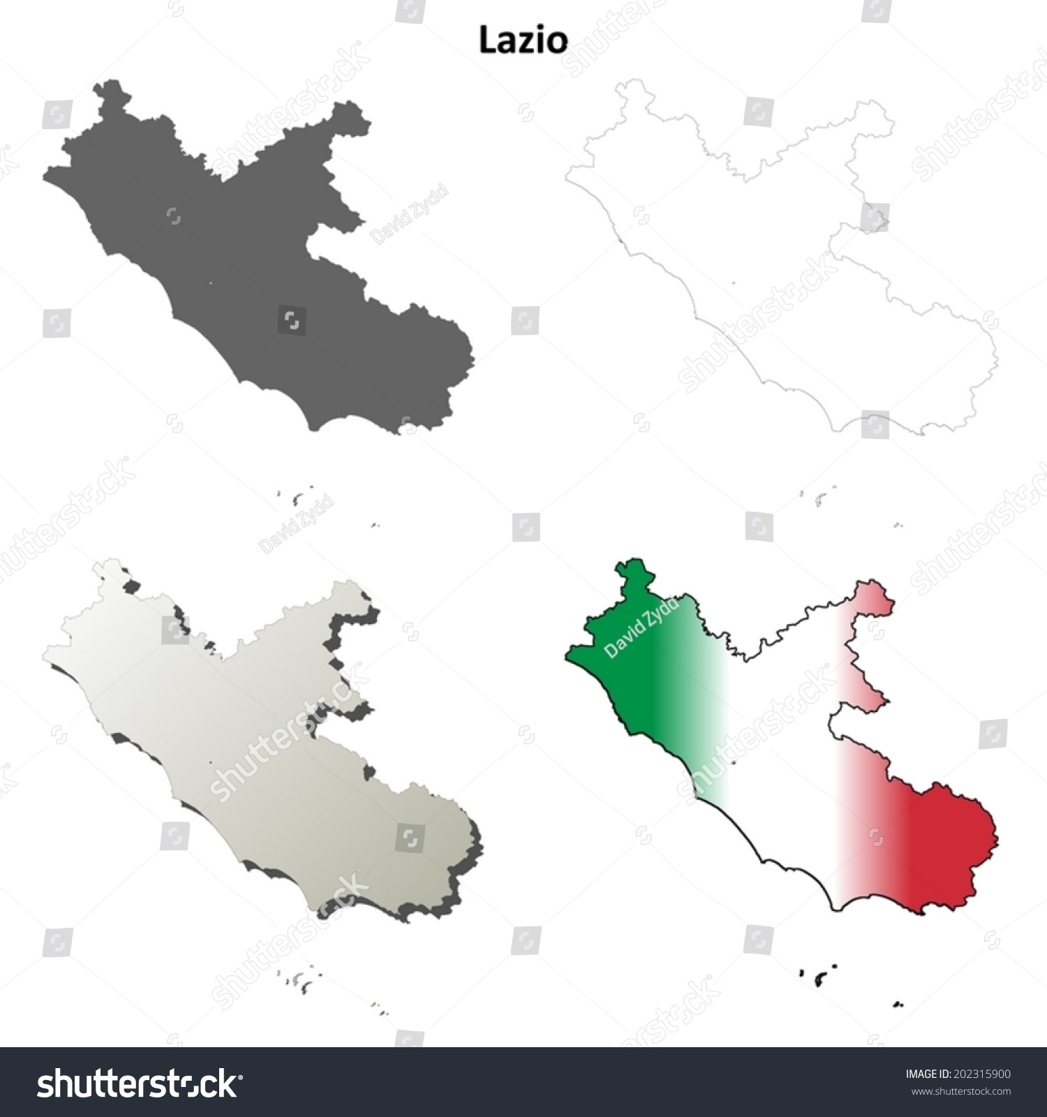 Lazio Blank Detailed Outline Map Set Stock Photo Photo Vector