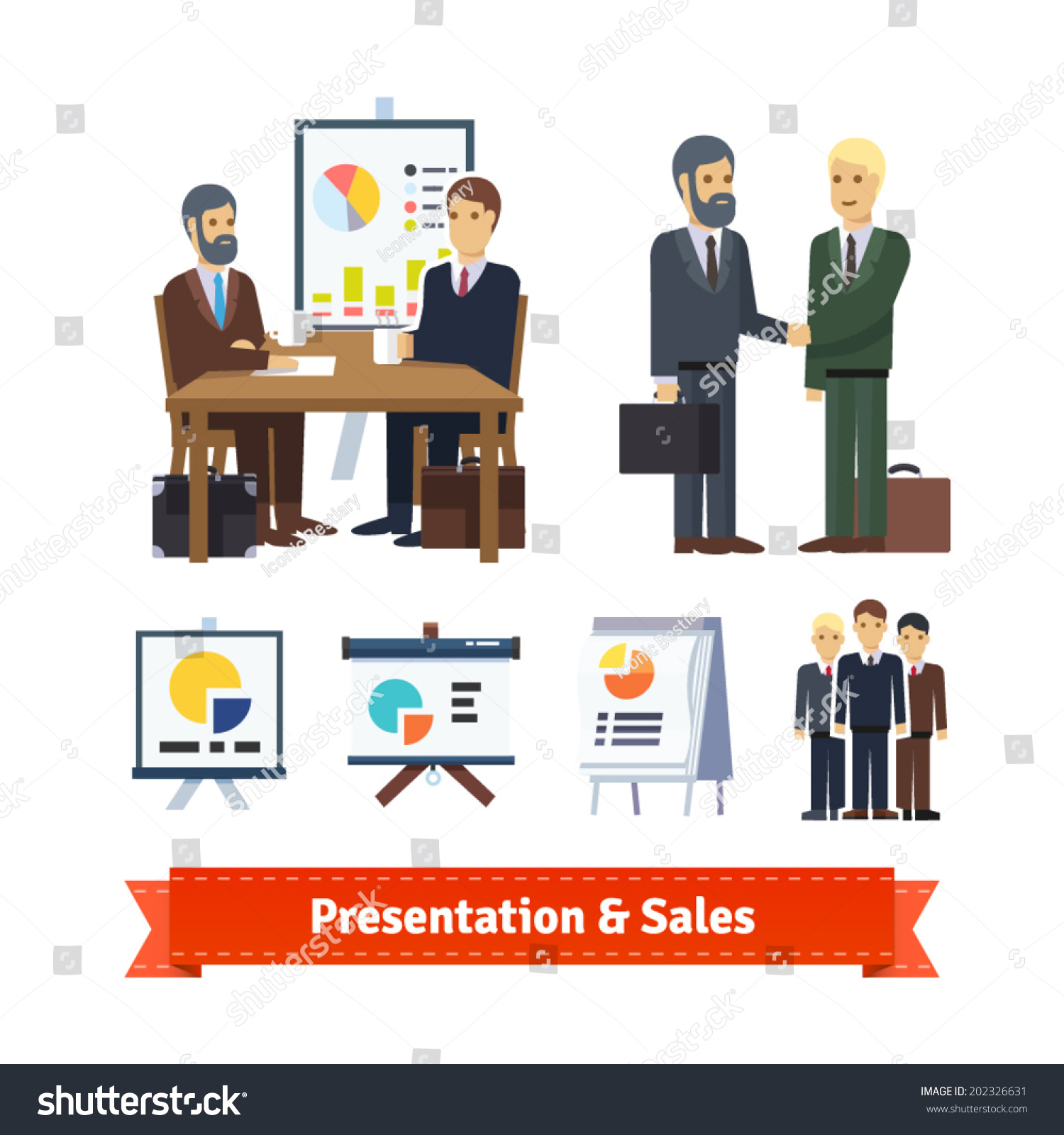 business job interview brainstorming closing stock vector business job interview brainstorming closing handshake and various charts flat icon