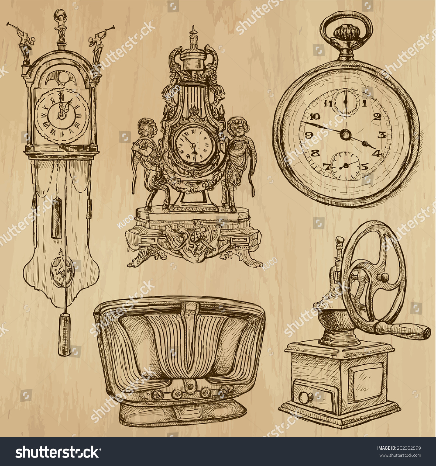 Old objects around world vector pack stock vector for Old objects
