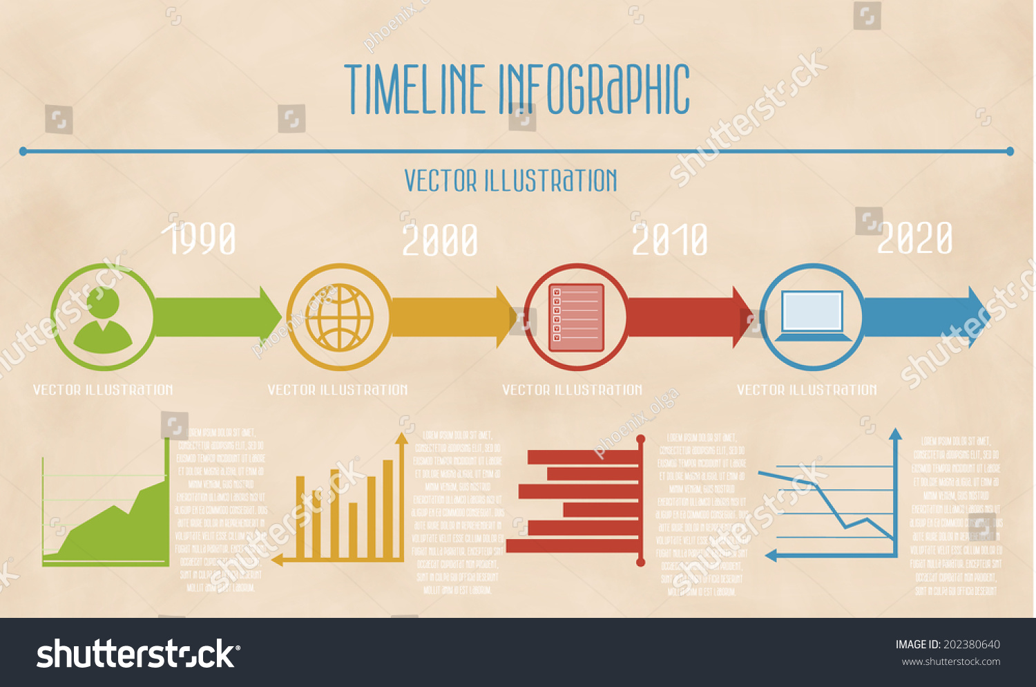 Vector Abstract Flat Timeline Infographic Diagrams Stock Vector ...