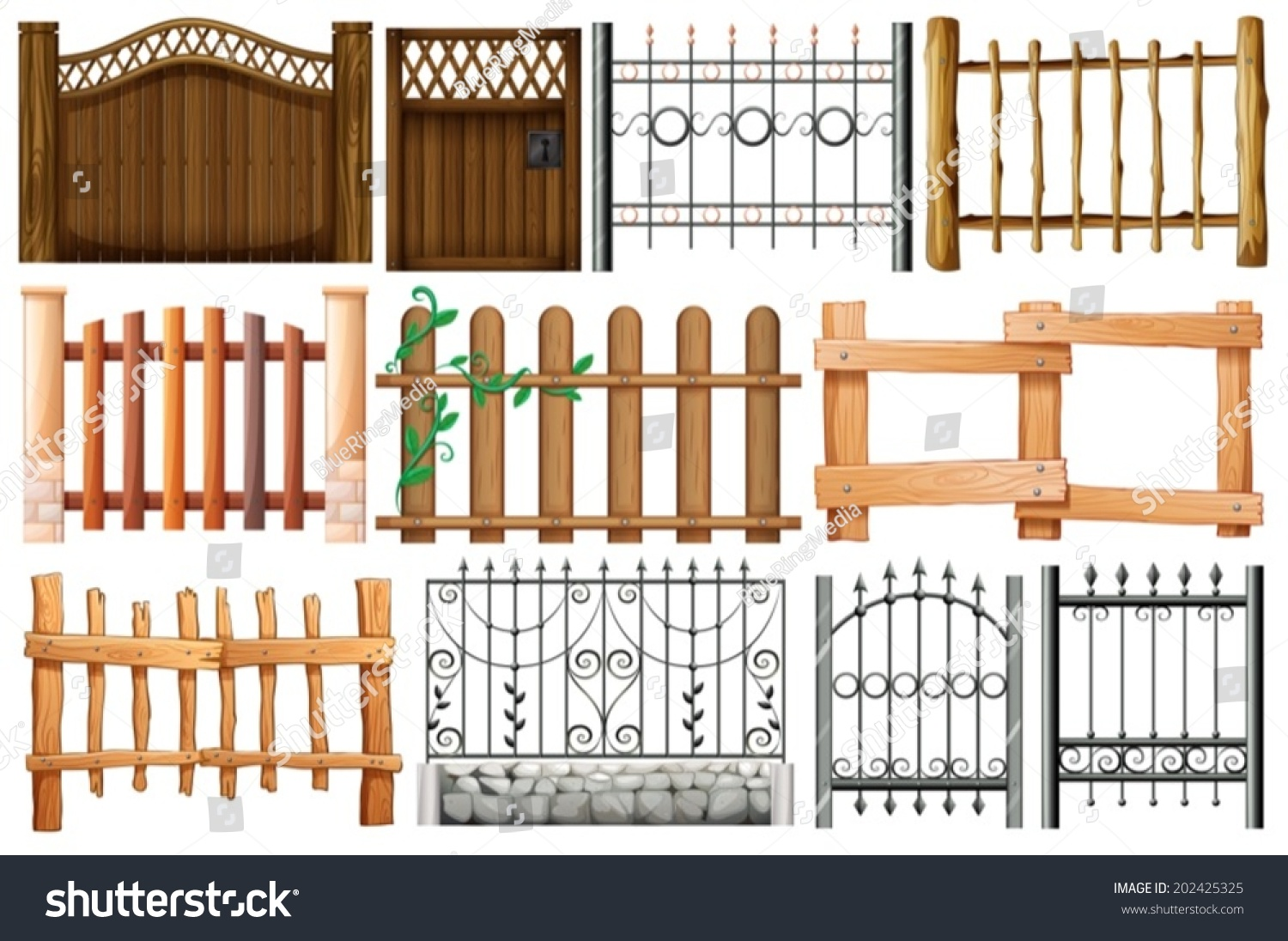Illustration Different Designs Fences Gates On Stock