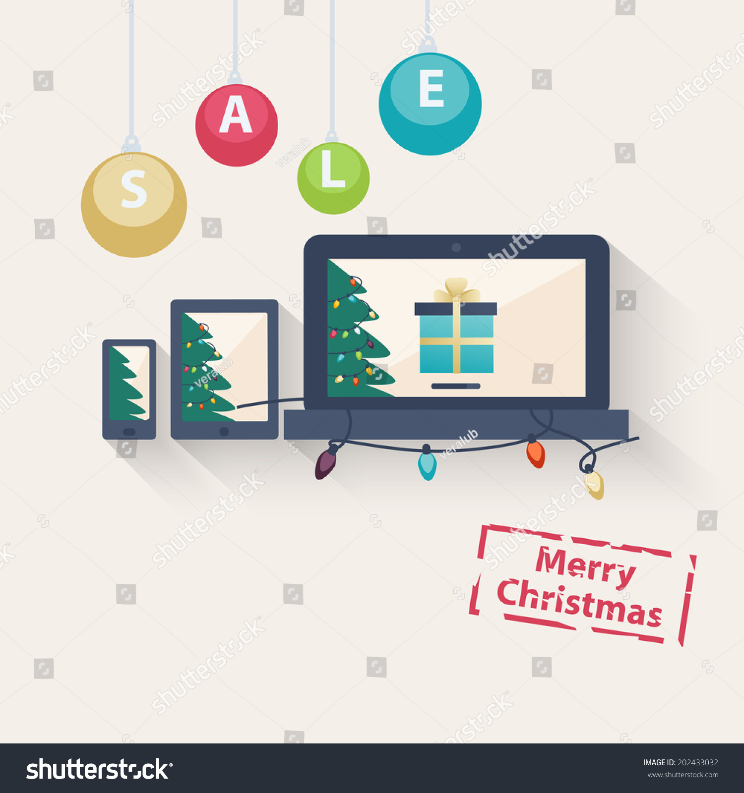 New Year Christmas Online Sale Concept Stock Vector (Royalty Free ...