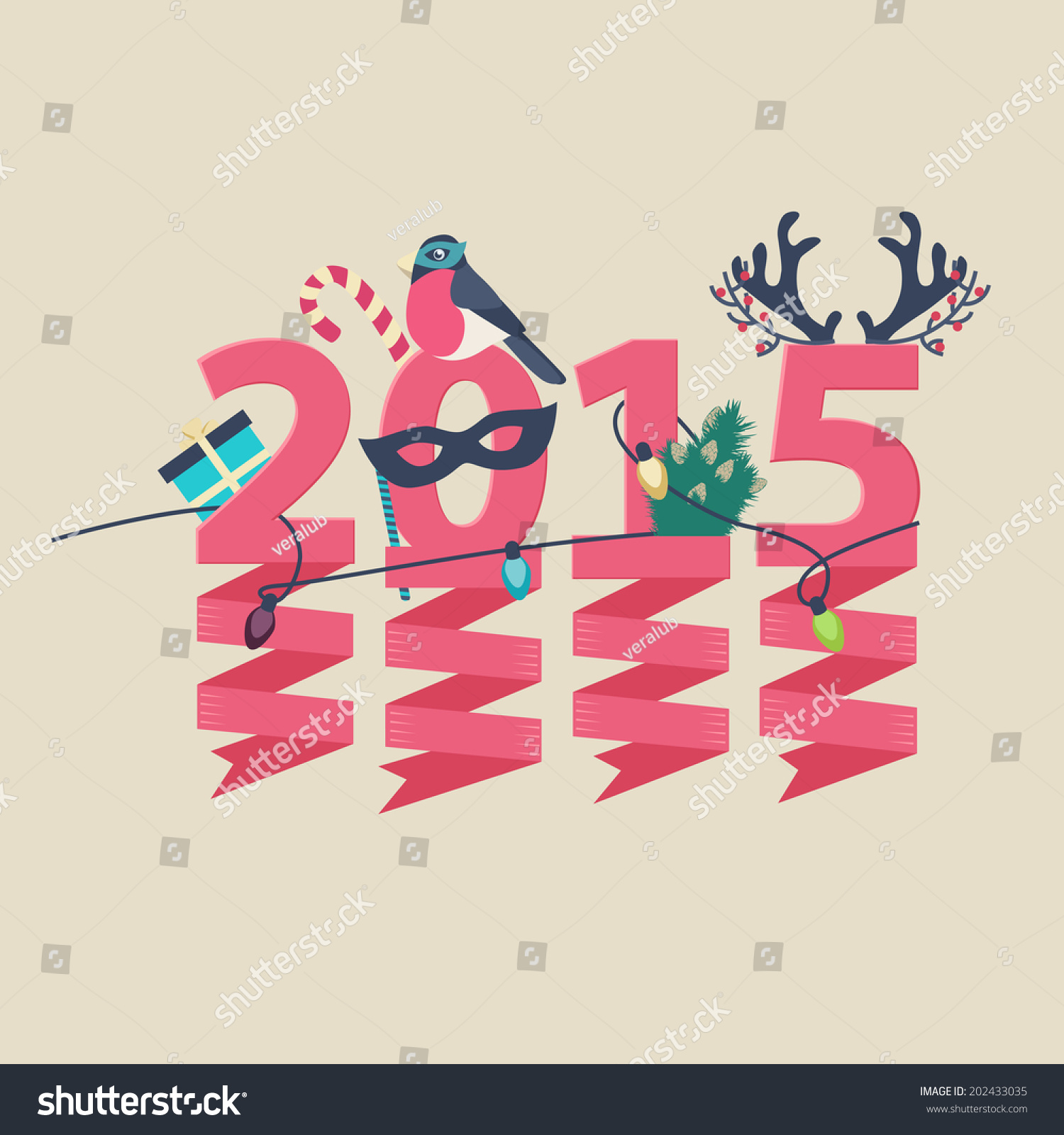 2015 new year greeting card design stock vector royalty free 2015 new year greeting card design with party streamers hanging from pink numerals decorated with christmas m4hsunfo
