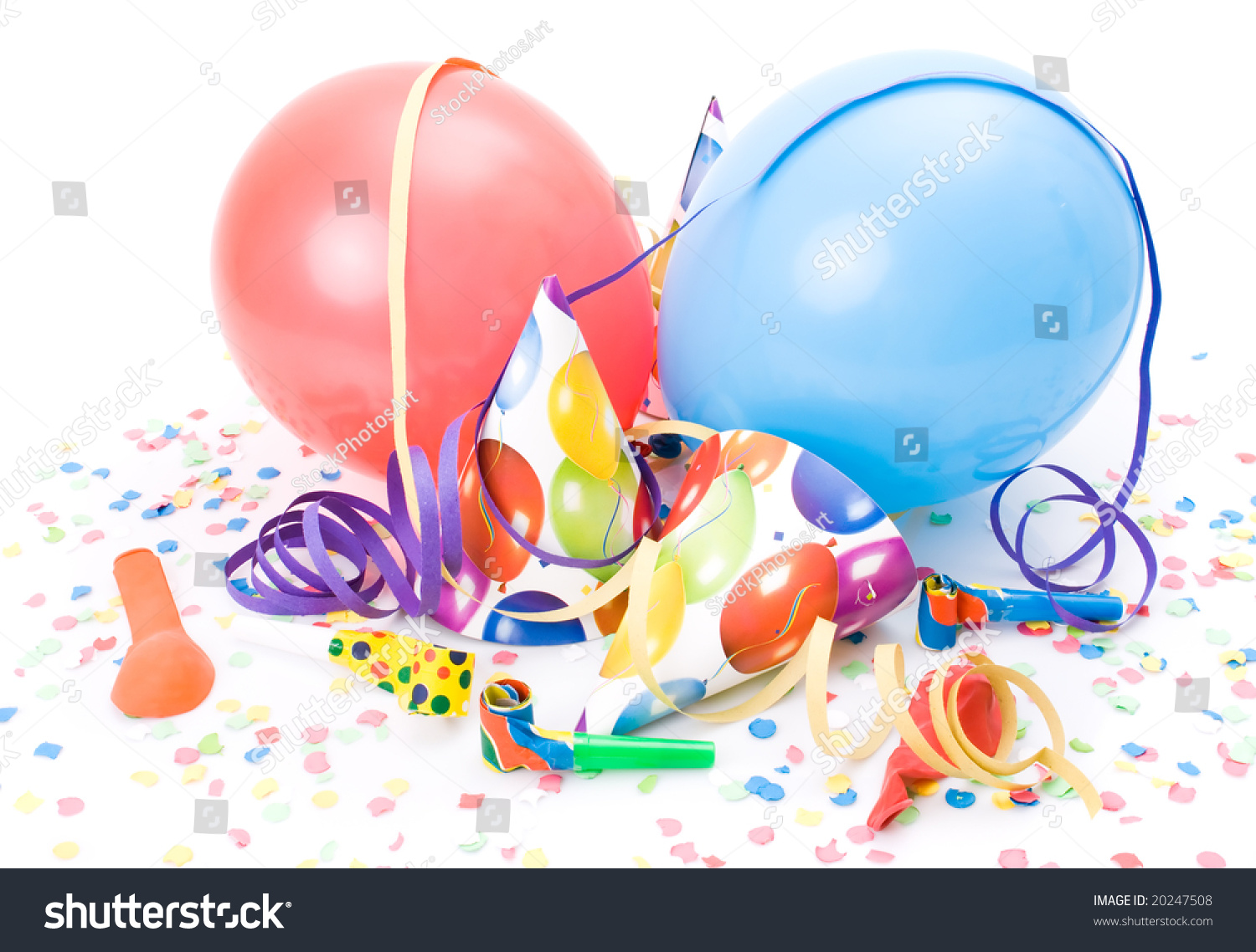 Party Hats Horns Whistles Confettis Balloons Stock Photo ...