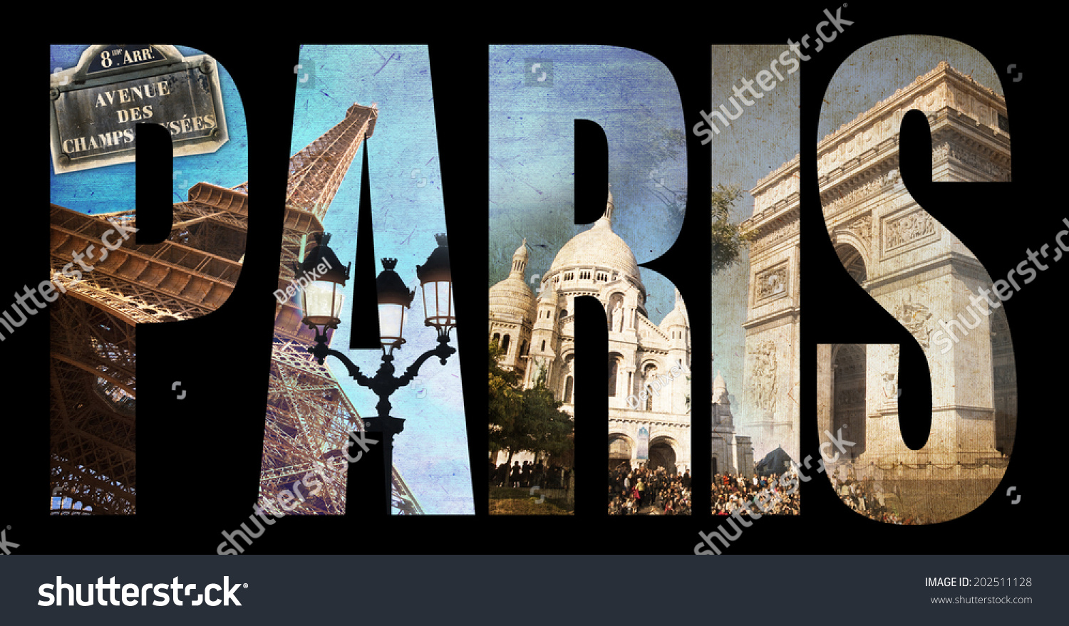 photo collage letters paris isolated on black background