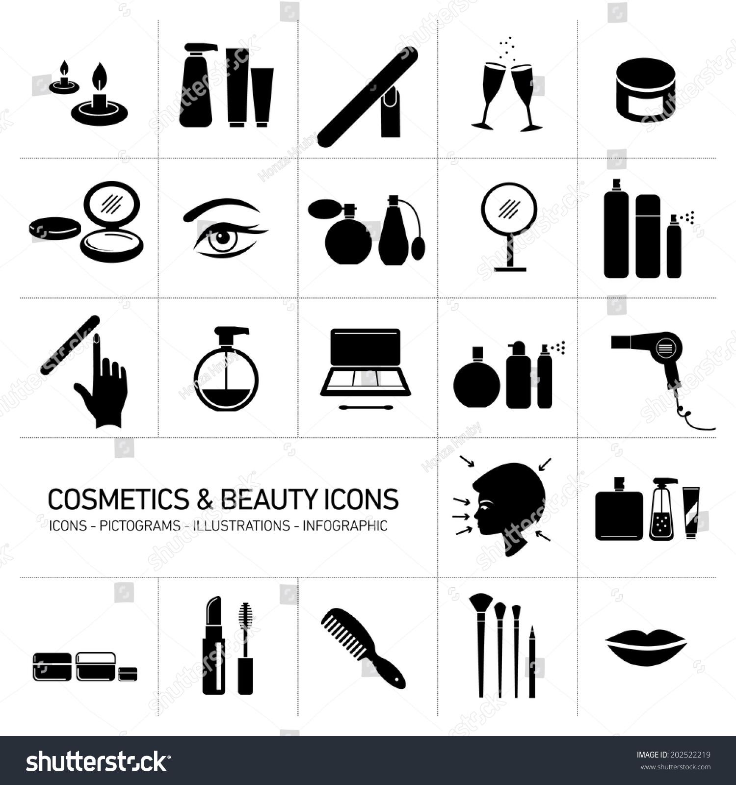 vector cosmetics makeup beauty icons set stock vector