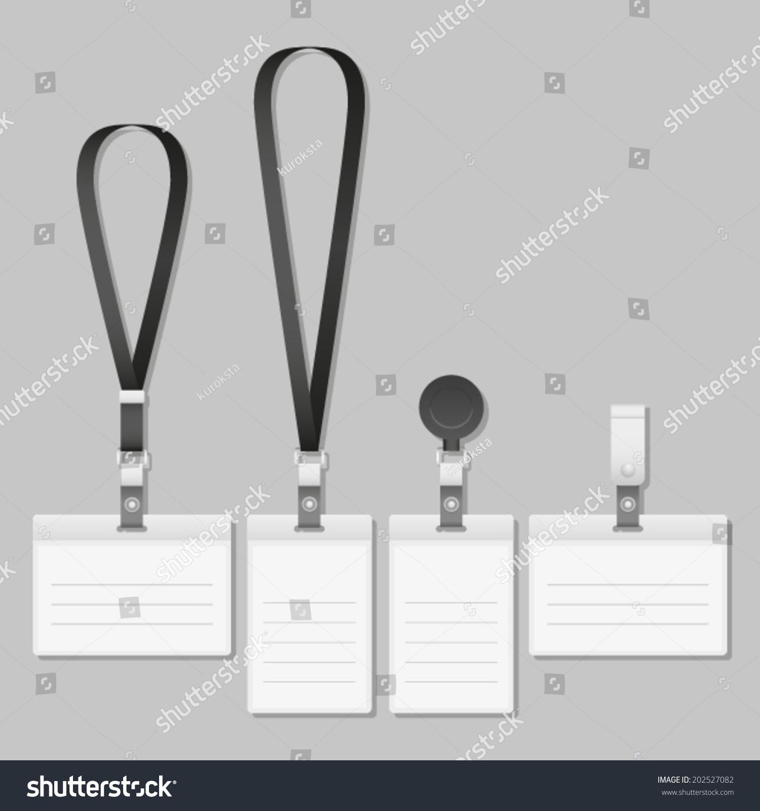 lanyard name tag holder end badge stock vector 202527082 shutterstock. Black Bedroom Furniture Sets. Home Design Ideas