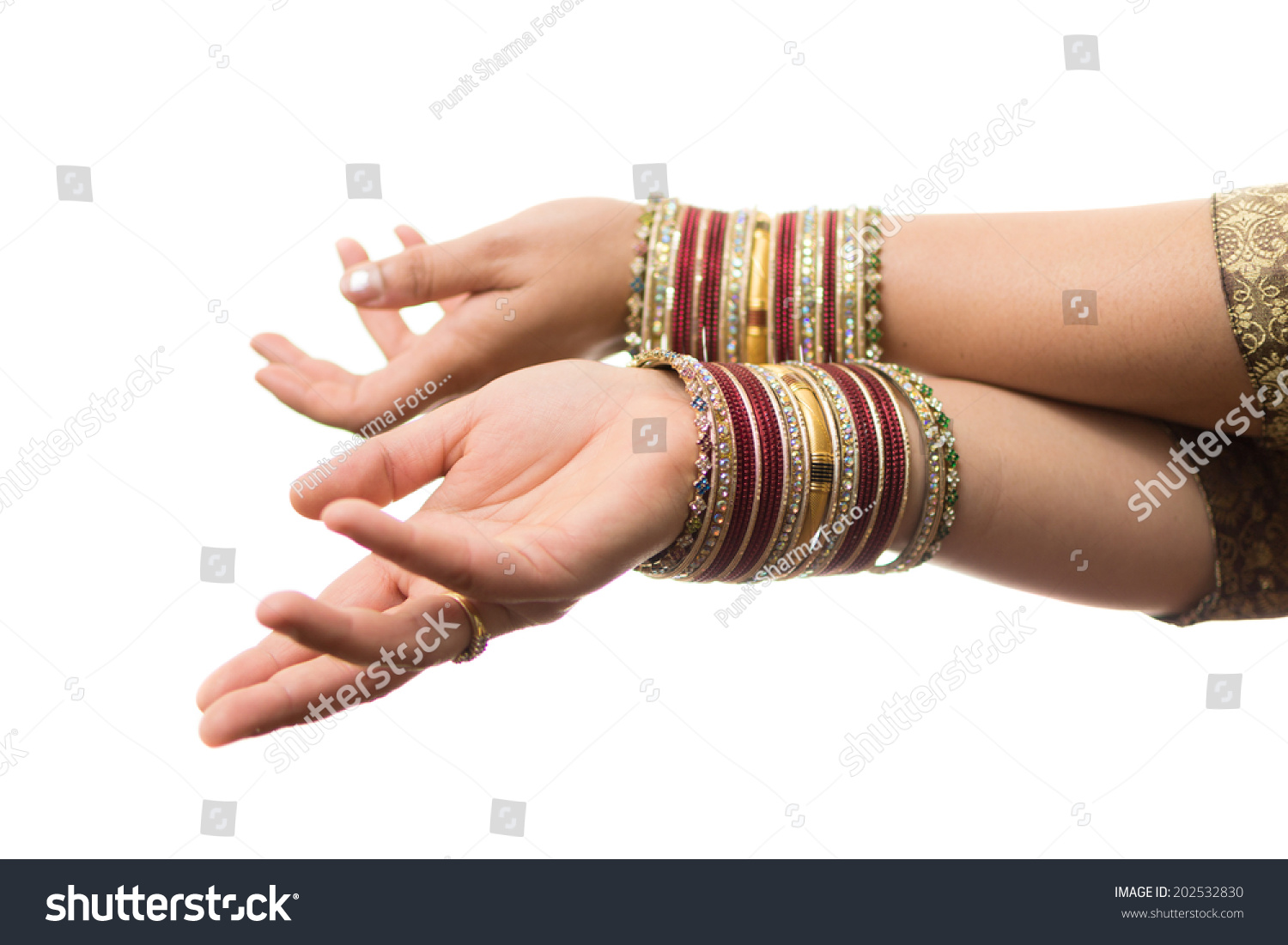 Hands Indian Girl Wearing Bangles On Stock Photo 202532830 ...