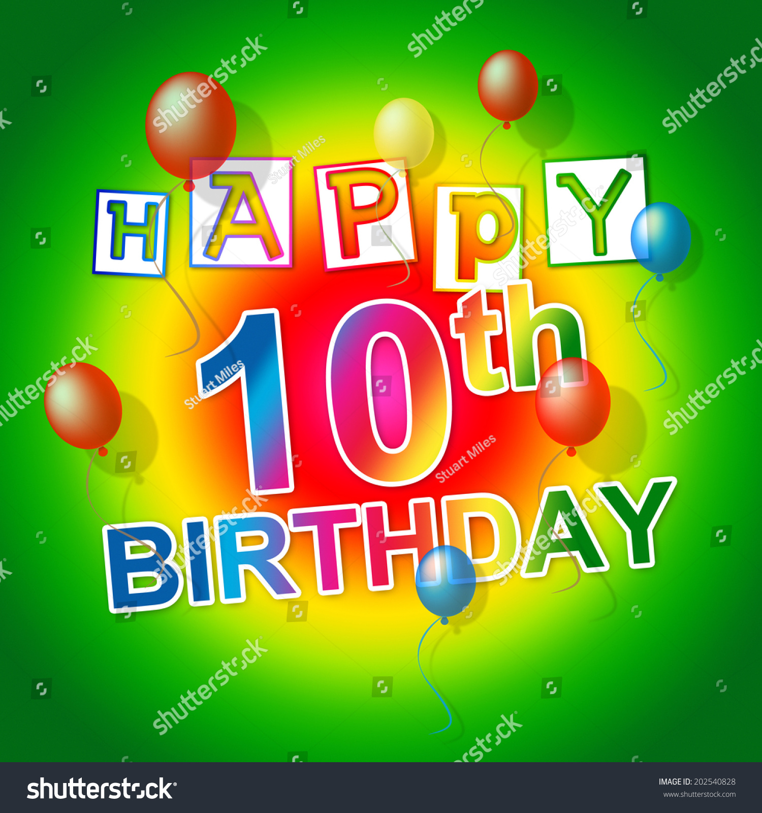 Happy Birthday Representing Congratulations Greeting Tenth Stock