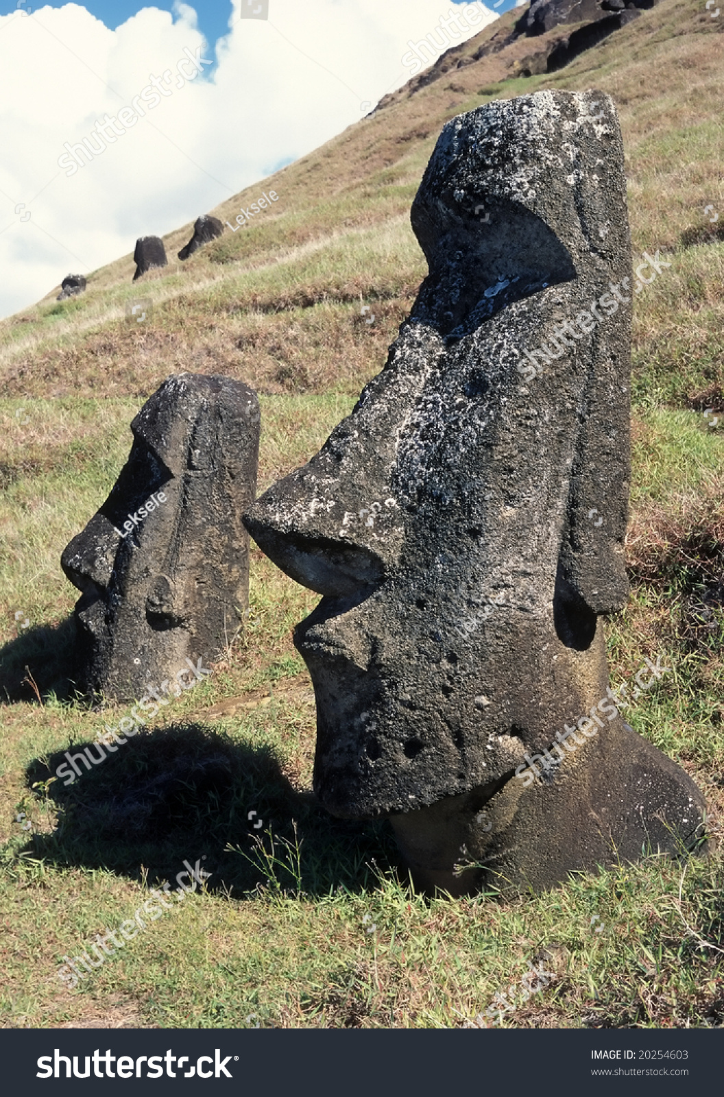 Old stone sculpture in famous easter island stock photo