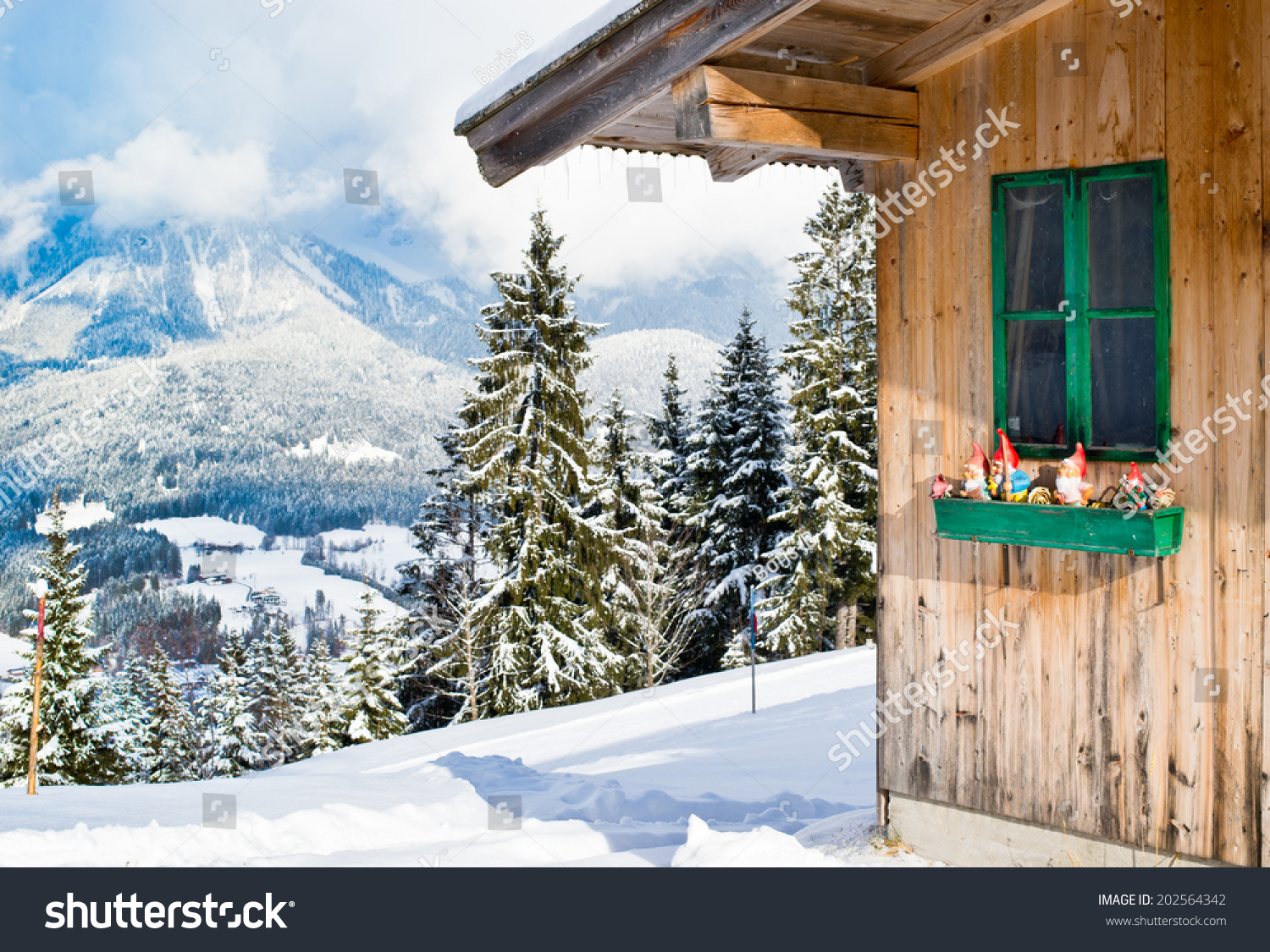 Wood chalet typical austrian decoration over stock photo 202564342 shutterstock for Deco chalet