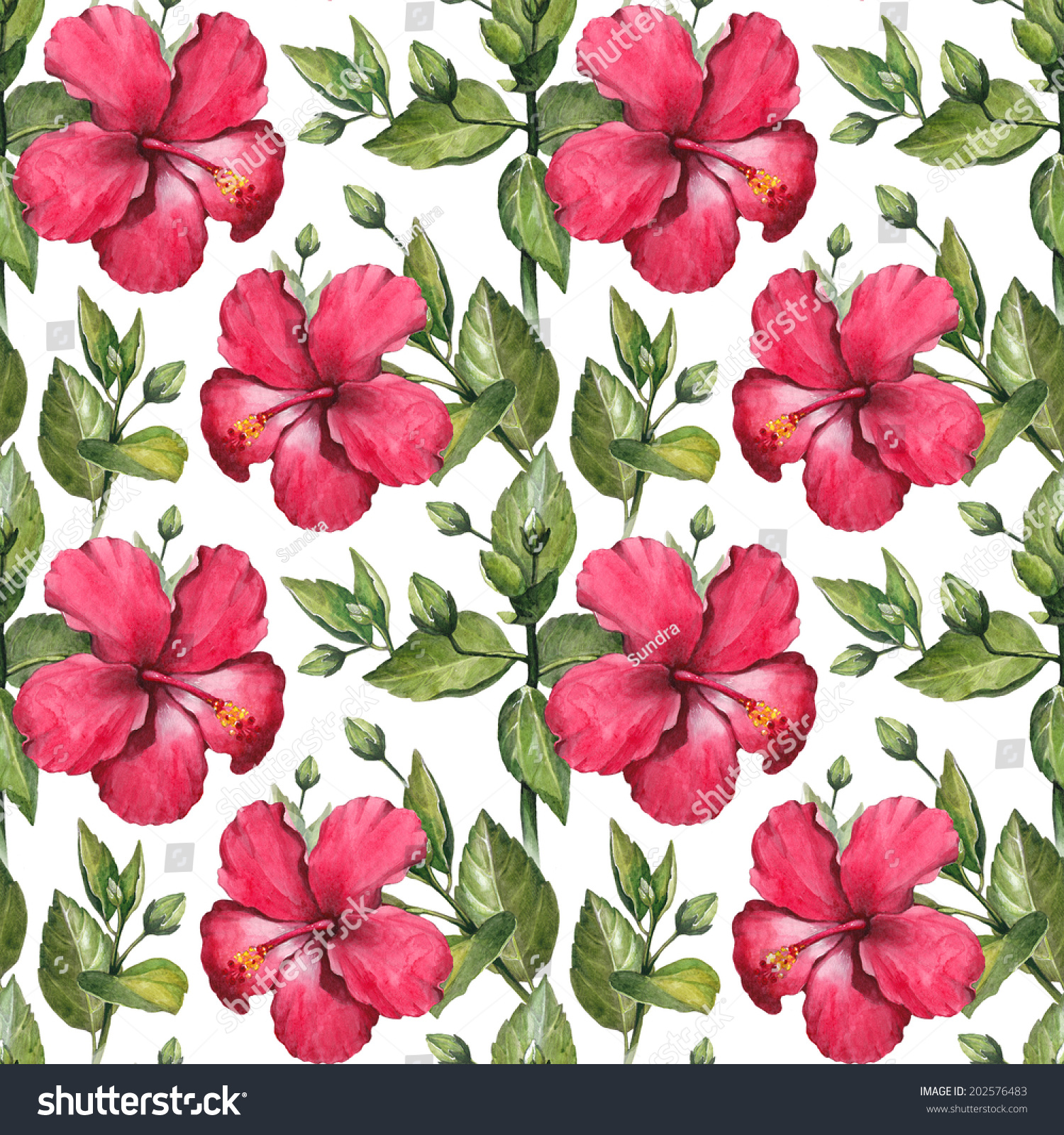Watercolor Hibiscus Flower Illustration Seamless Pattern Ez Canvas