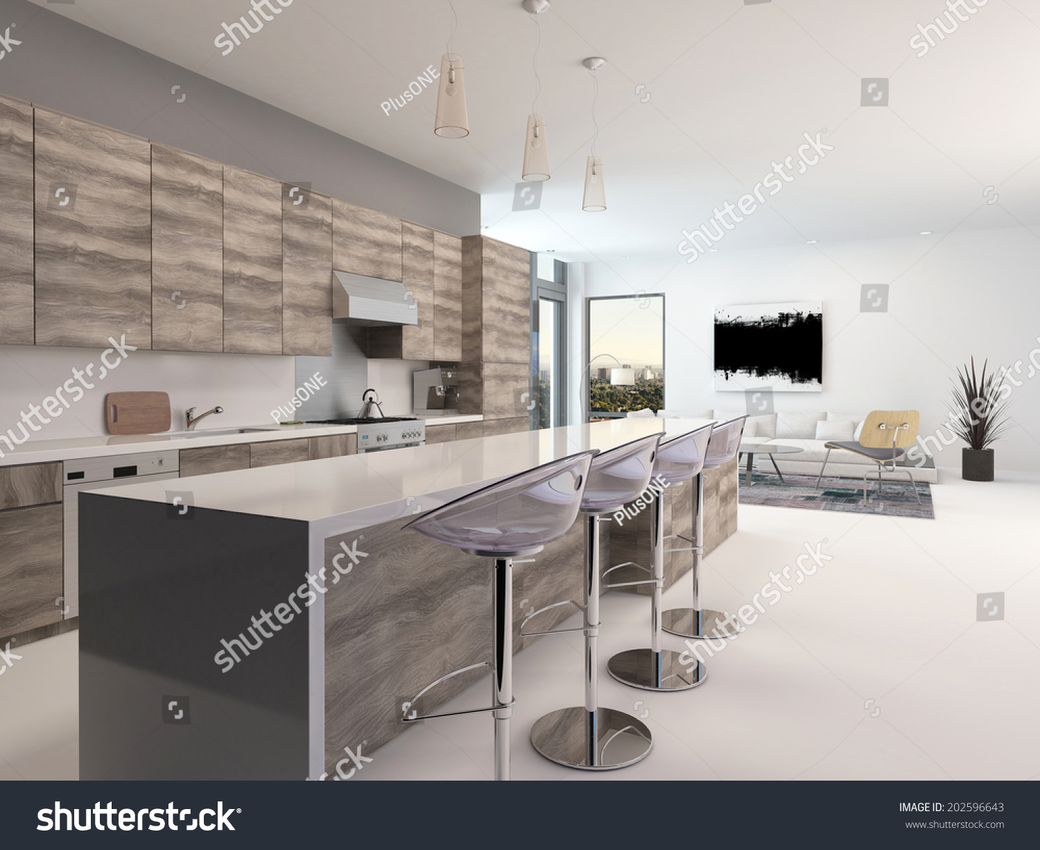 Rustic Counter Stools Kitchen Rustic Style Wooden Openplan Kitchen Interior Stock Illustration