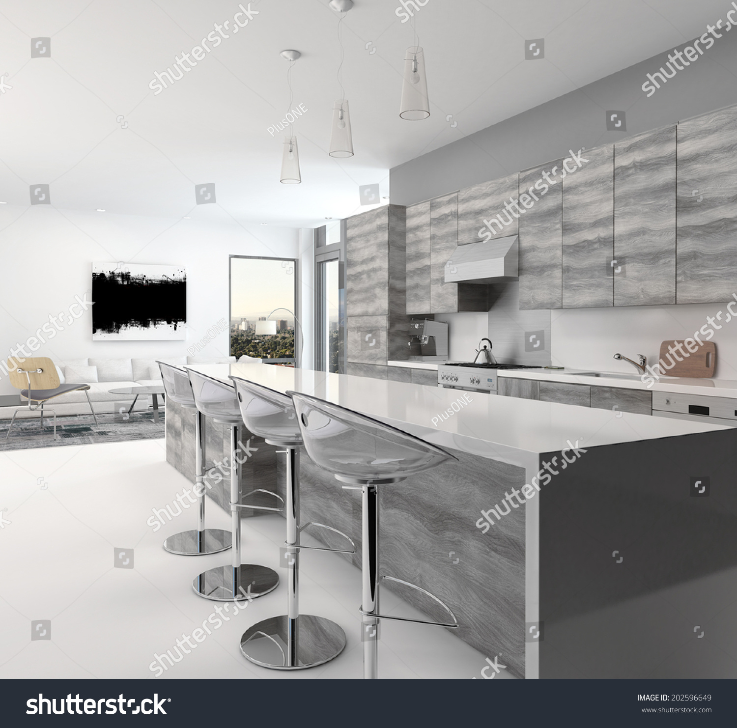 Rustic Open Plan Kitchen: Rustic Gray Style Wooden Open-Plan Kitchen Interior With A
