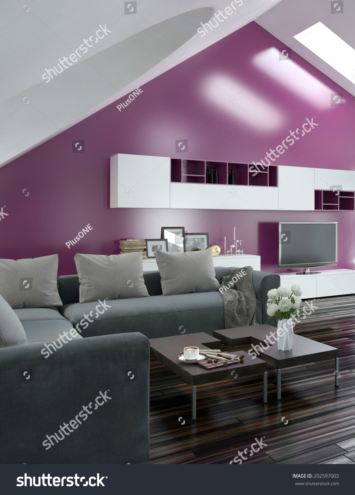Modern Apartment Living Room Interior With A Purple Accent Wall And Sloping  Ceiling With Skylights Above A Parquet Floor And Modern Grey Lounge Suite  With ...