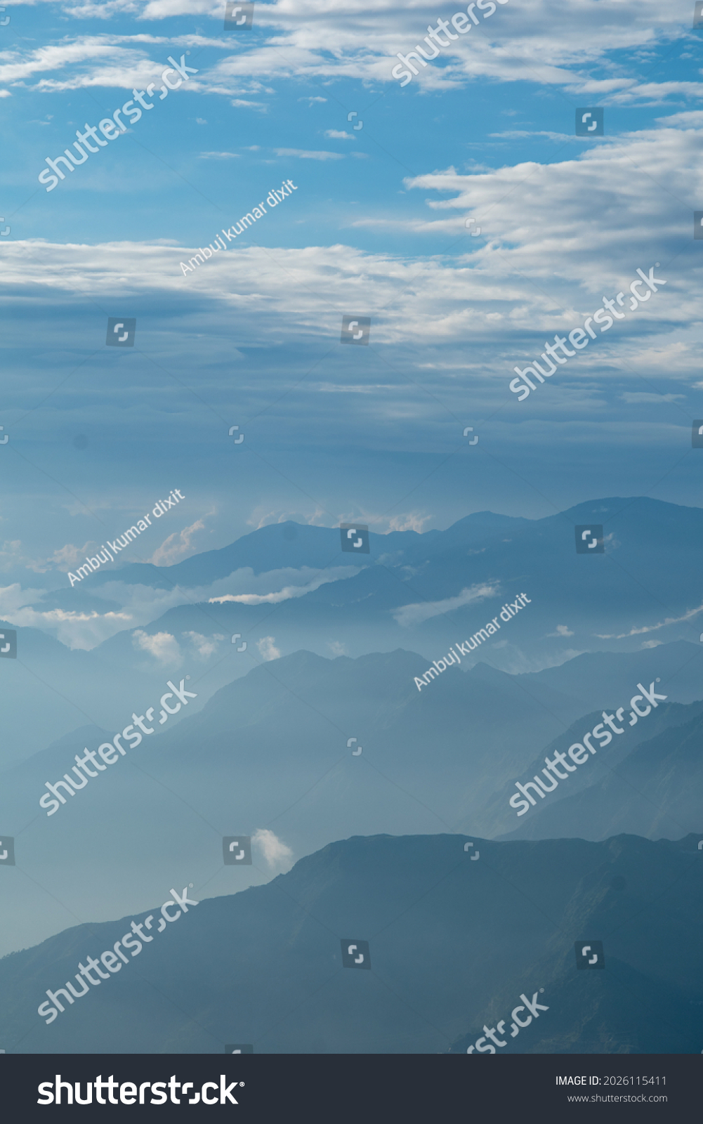Cloud and fog cover all mountain, View of Dalhousie from kalatop. #2026115411