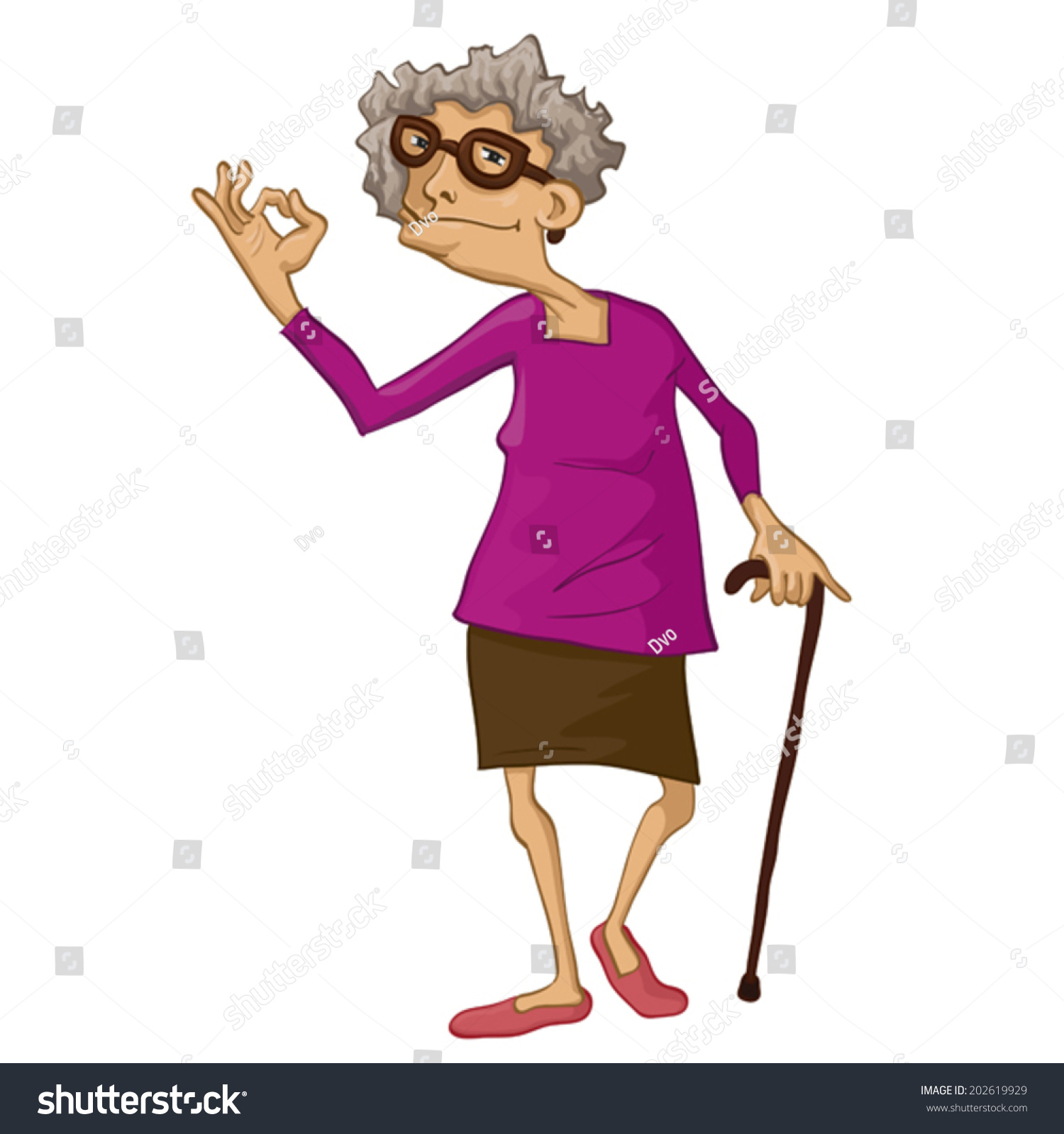 This illustration depicts an old woman