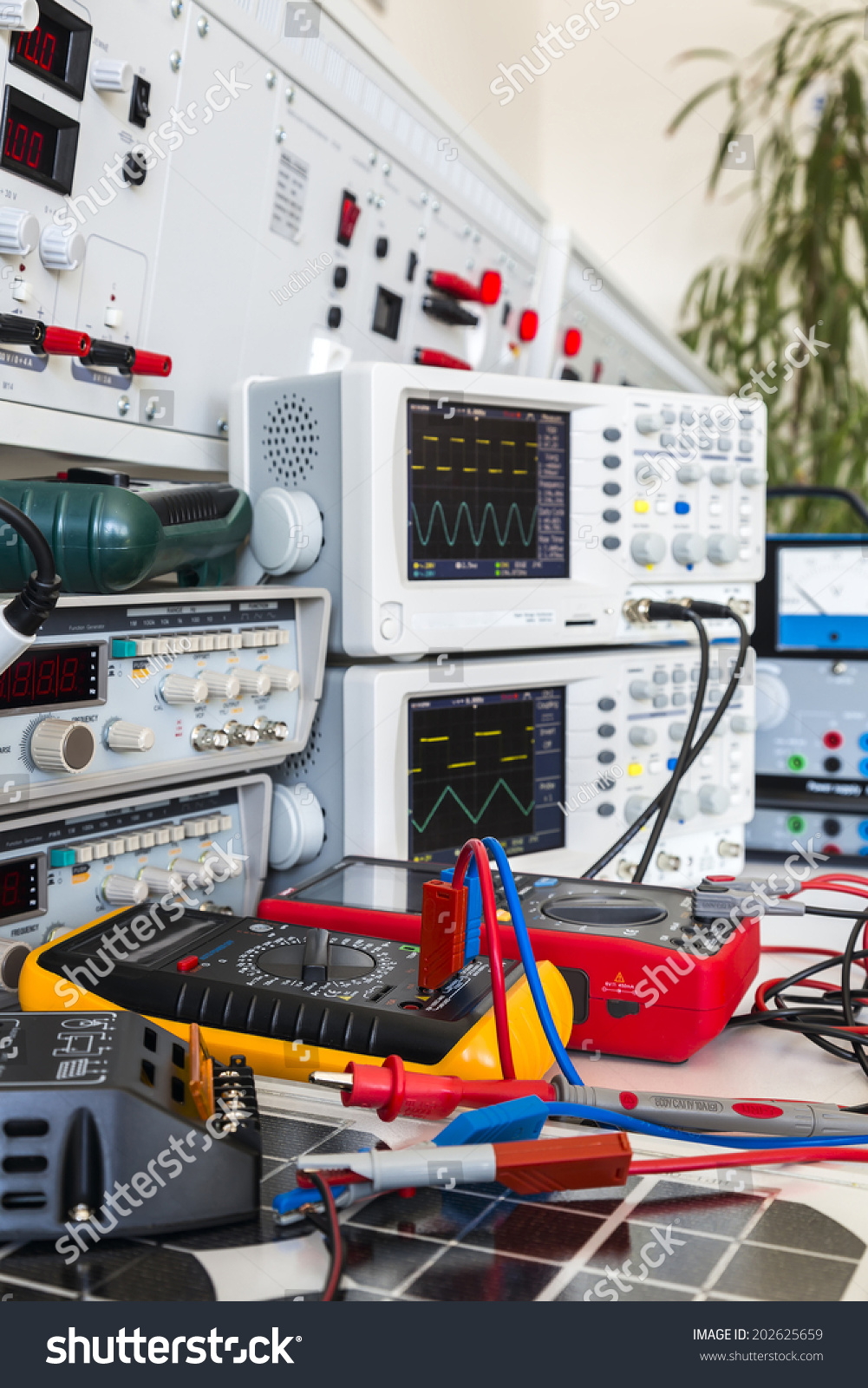 Faulty Solar Regulator Checking Using Oscilloscopes Stock Photo Electrical Wiring And An In Laboratory