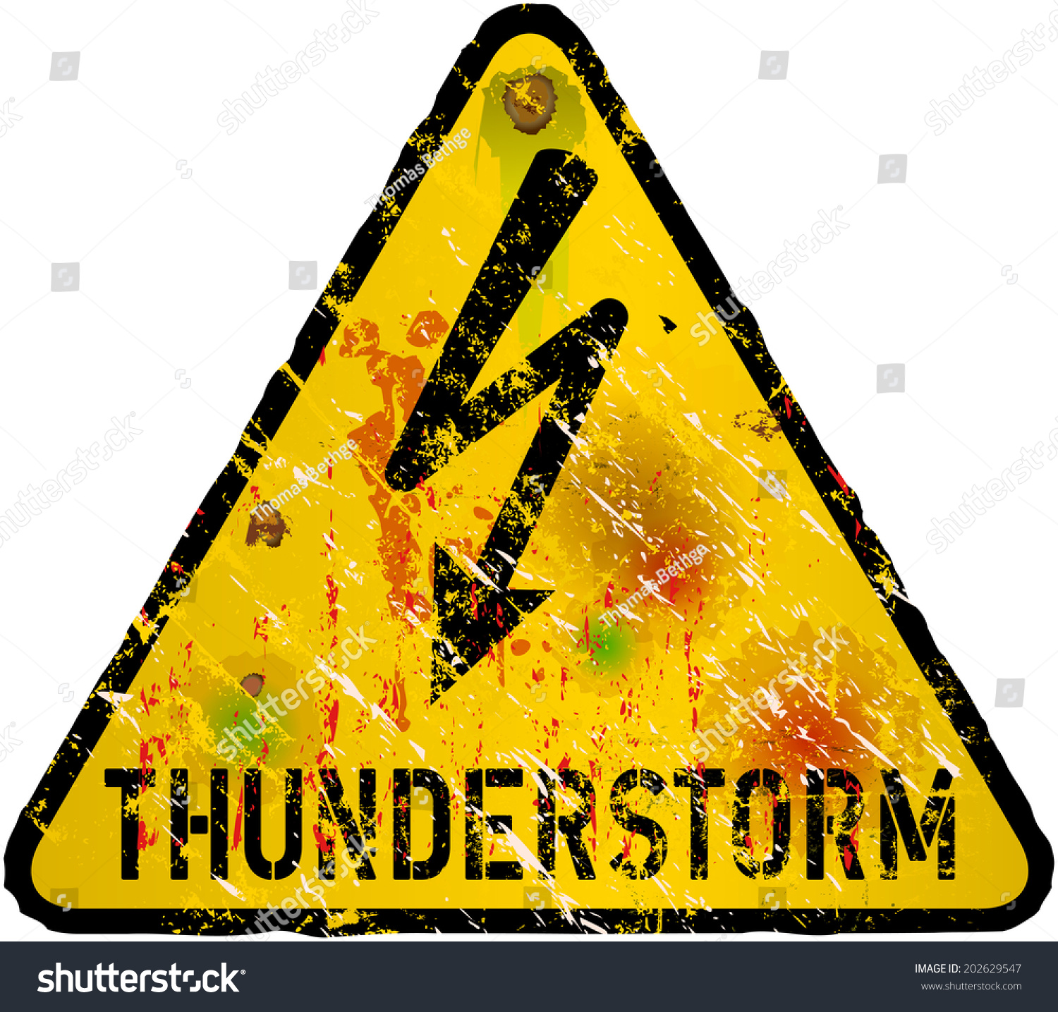 thunderstorm warning sign heavy weathered vector eps 10